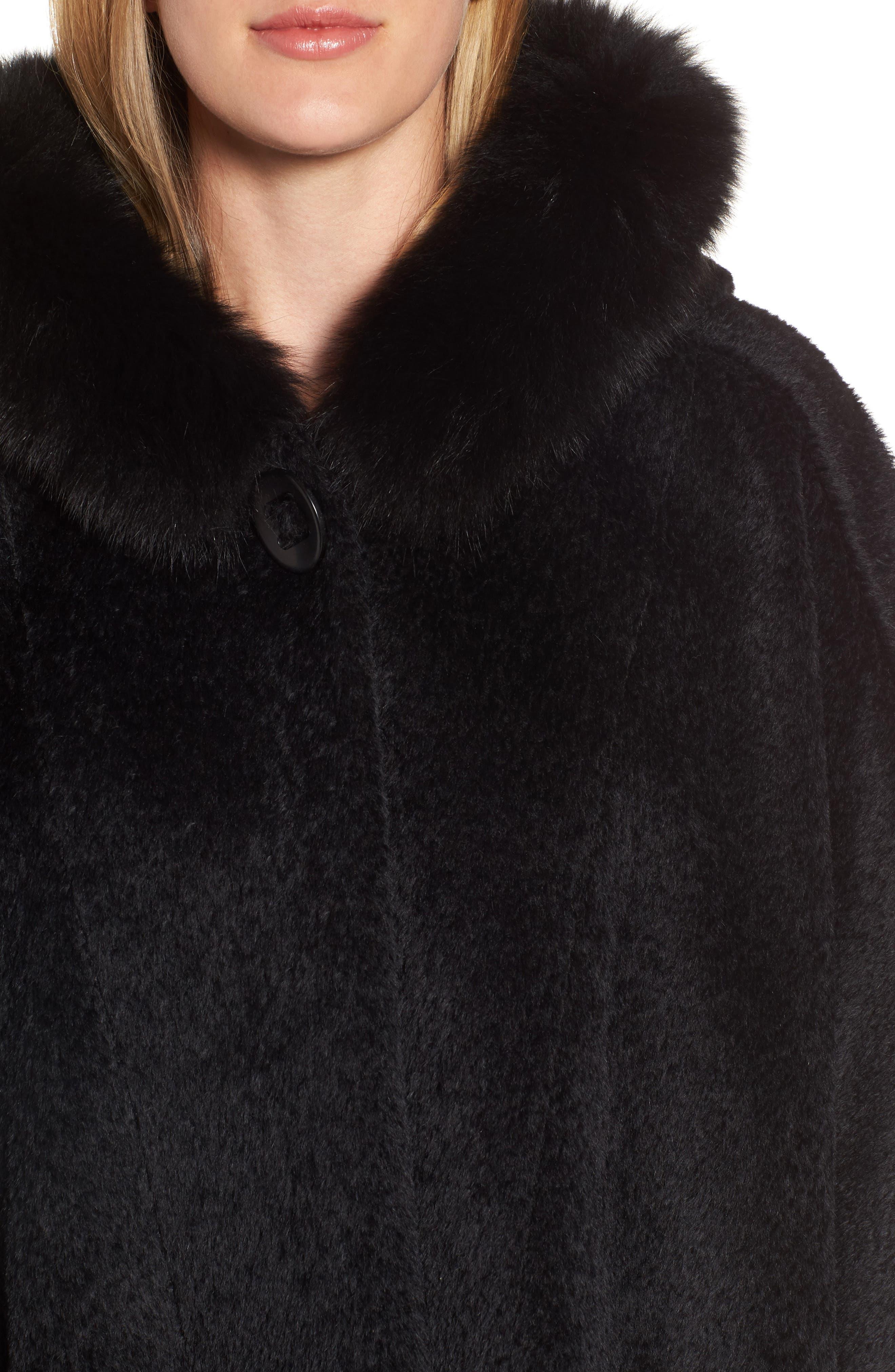 Hooded Genuine Fox Fur Trim Wool Blend Cape,                             Alternate thumbnail 4, color,                             003