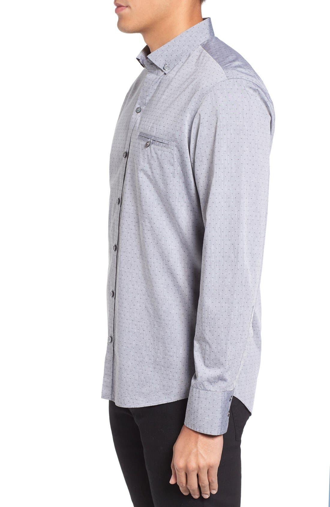 Yama Trim Fit Geometric Sport Shirt,                             Alternate thumbnail 3, color,