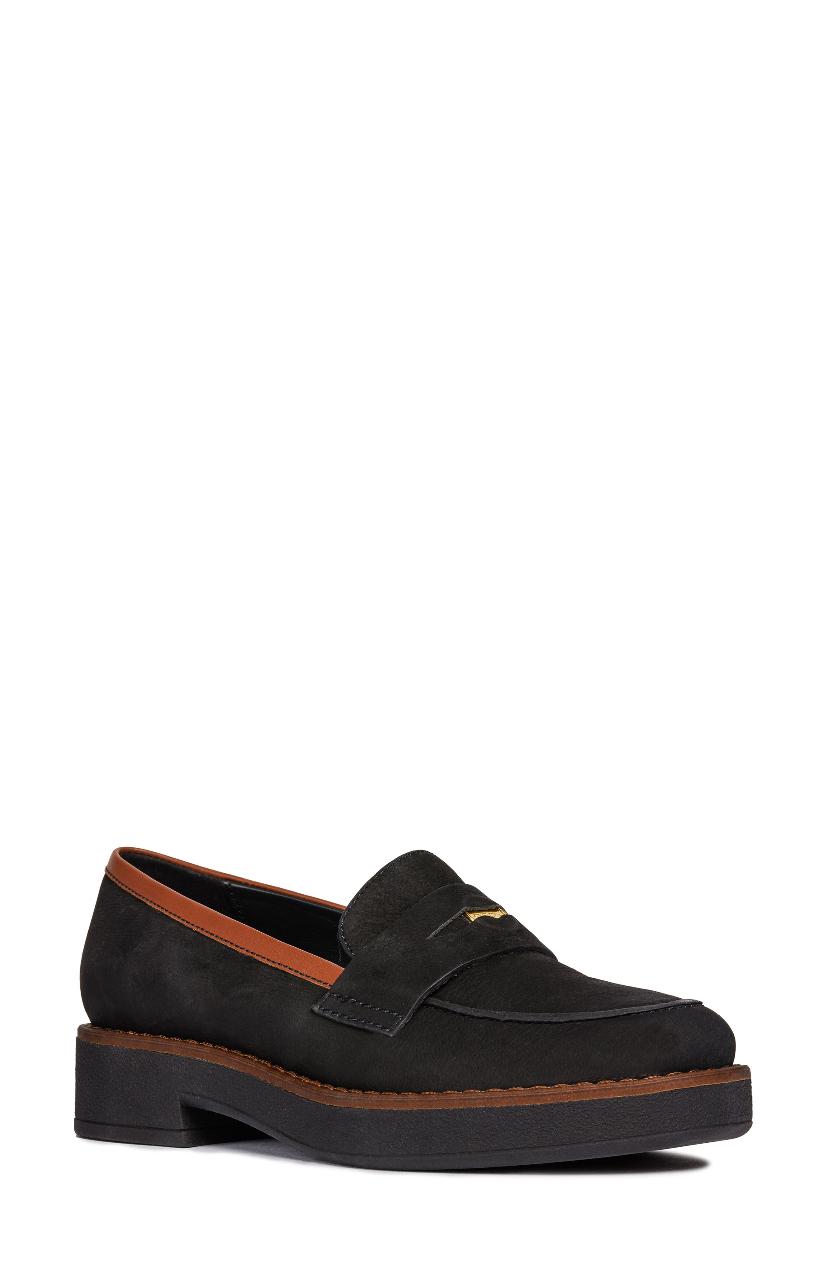 Adrya Loafer,                             Main thumbnail 1, color,                             BLACK/ BROWN NUBUCK LEATHER