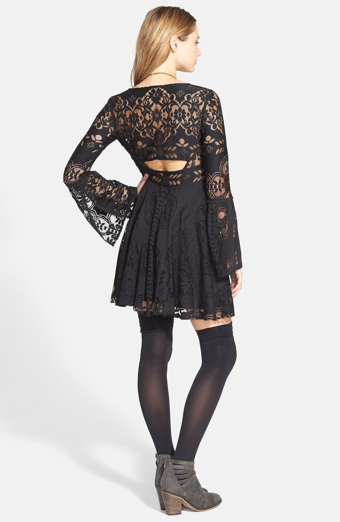 'Lace Lovers Folk Song' Bell Sleeve Cutout Skater Dress,                             Alternate thumbnail 7, color,