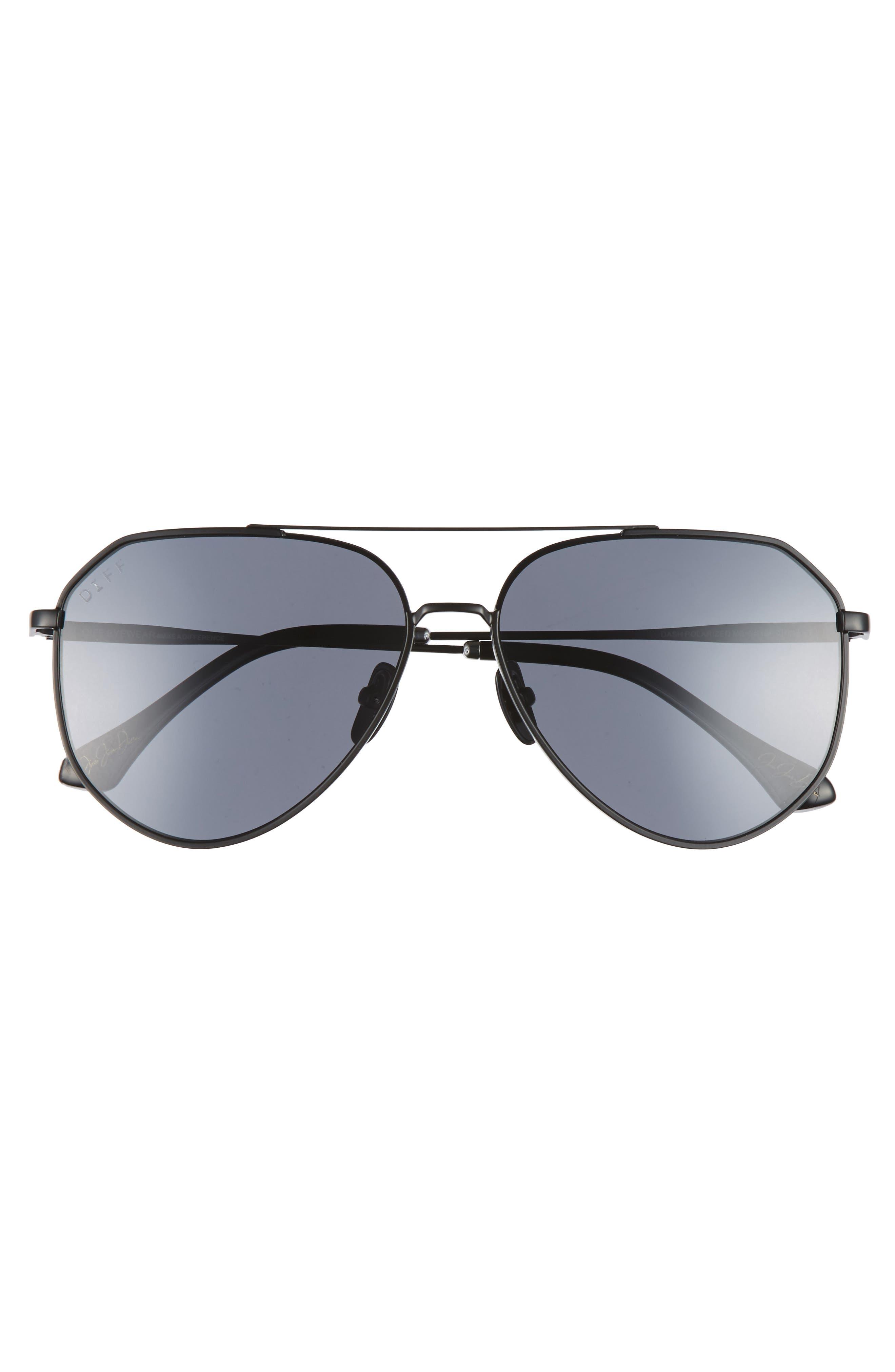 x Jessie James Decker Dash 61mm Polarized Aviator Sunglasses,                             Alternate thumbnail 3, color,                             BLACK/ GREY