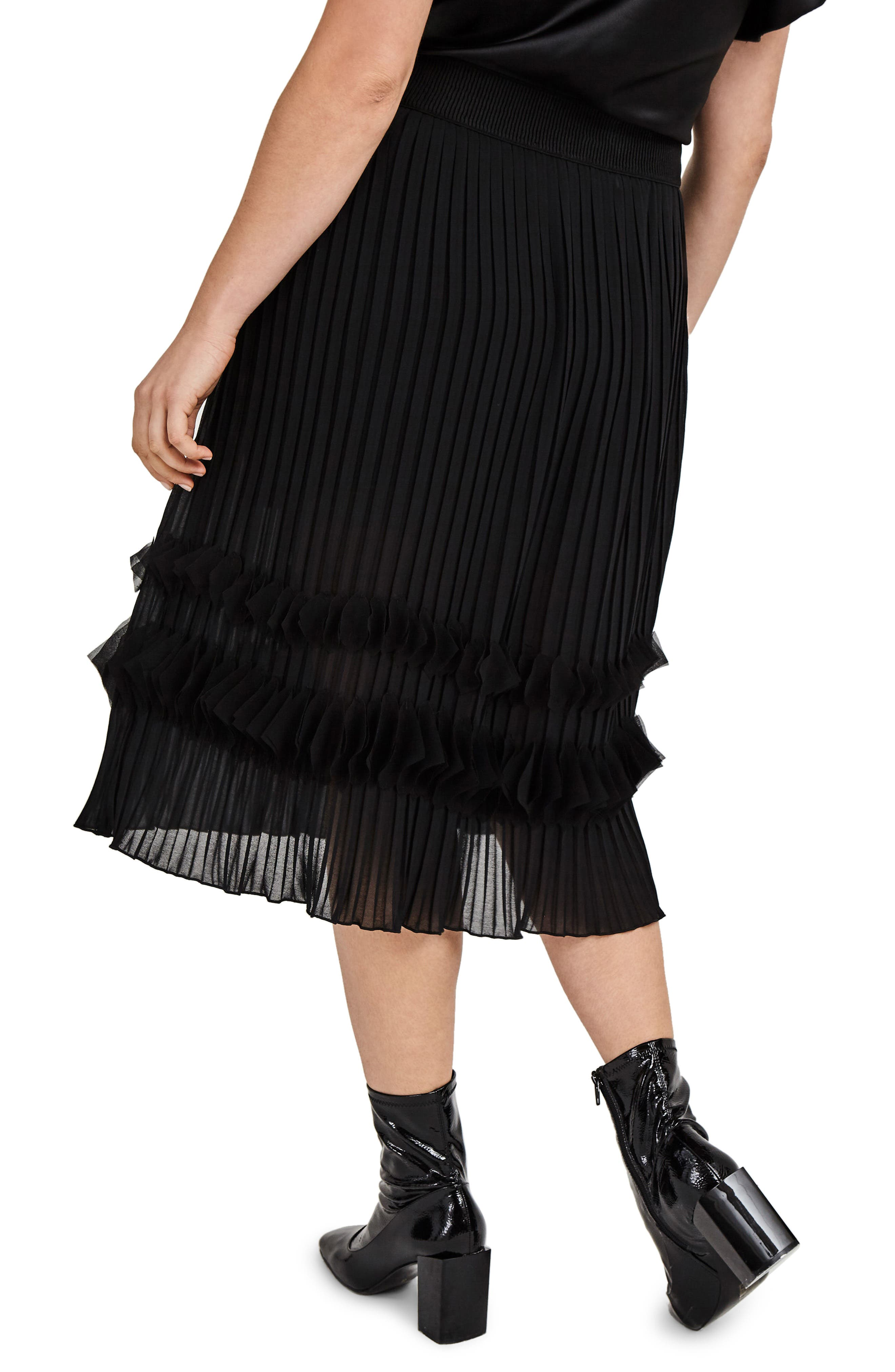 Pleated Chiffon Midi Skirt,                             Alternate thumbnail 2, color,                             001