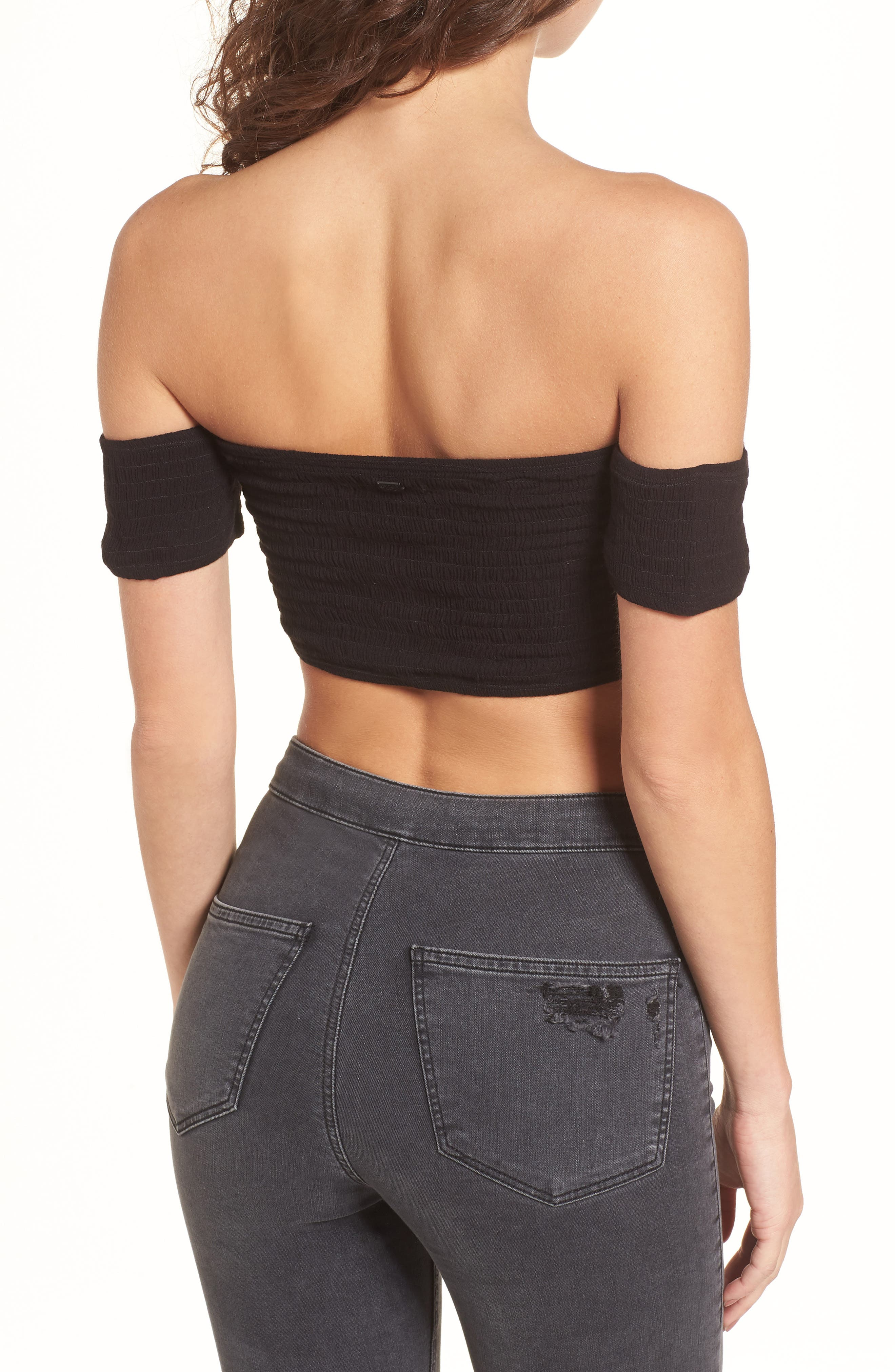 STONE ROW,                             Addicted 2 Me Smocked Crop Top,                             Alternate thumbnail 2, color,                             001