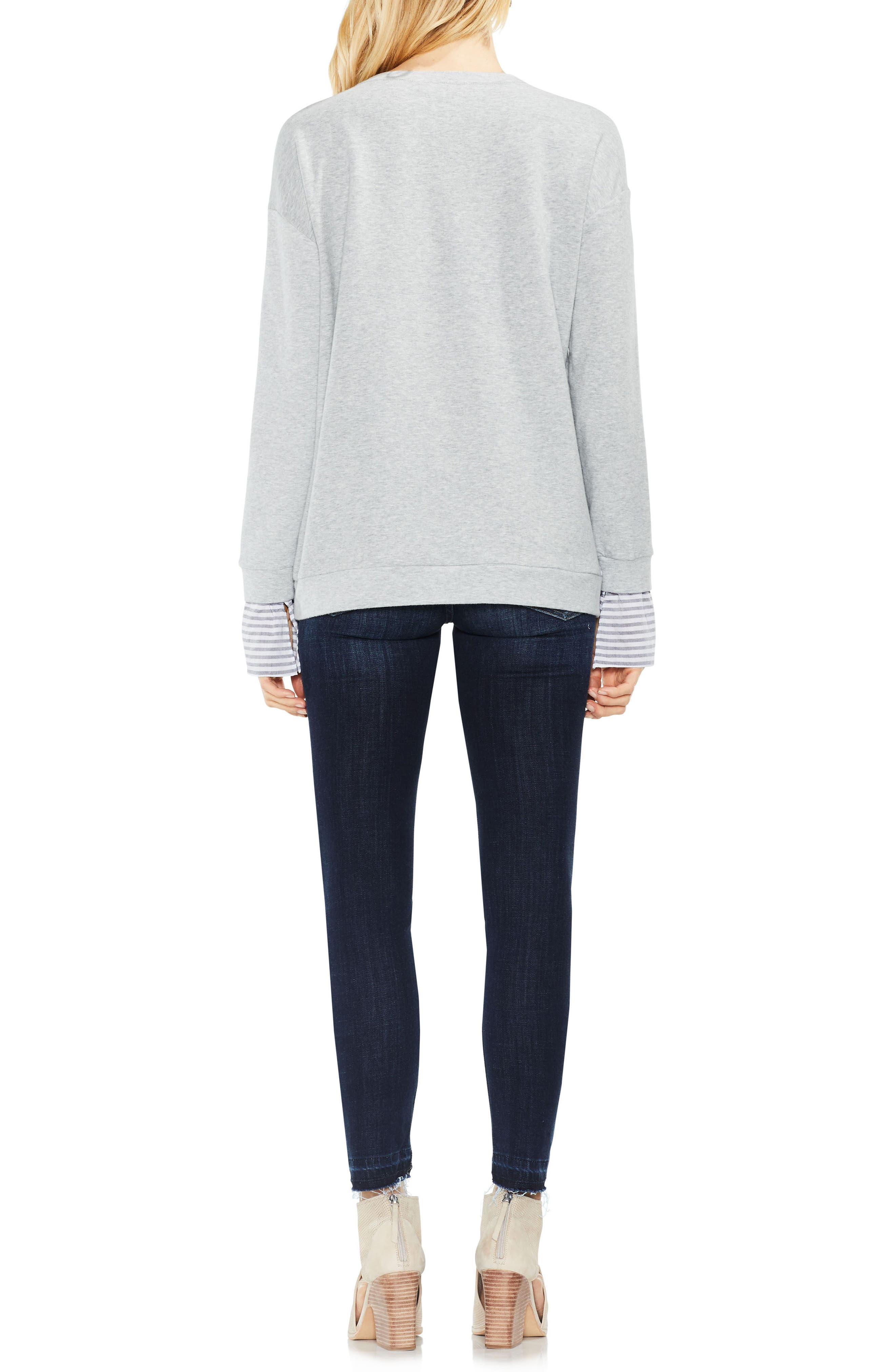 Stripe Cuff Frech Terry Pullover,                             Alternate thumbnail 3, color,