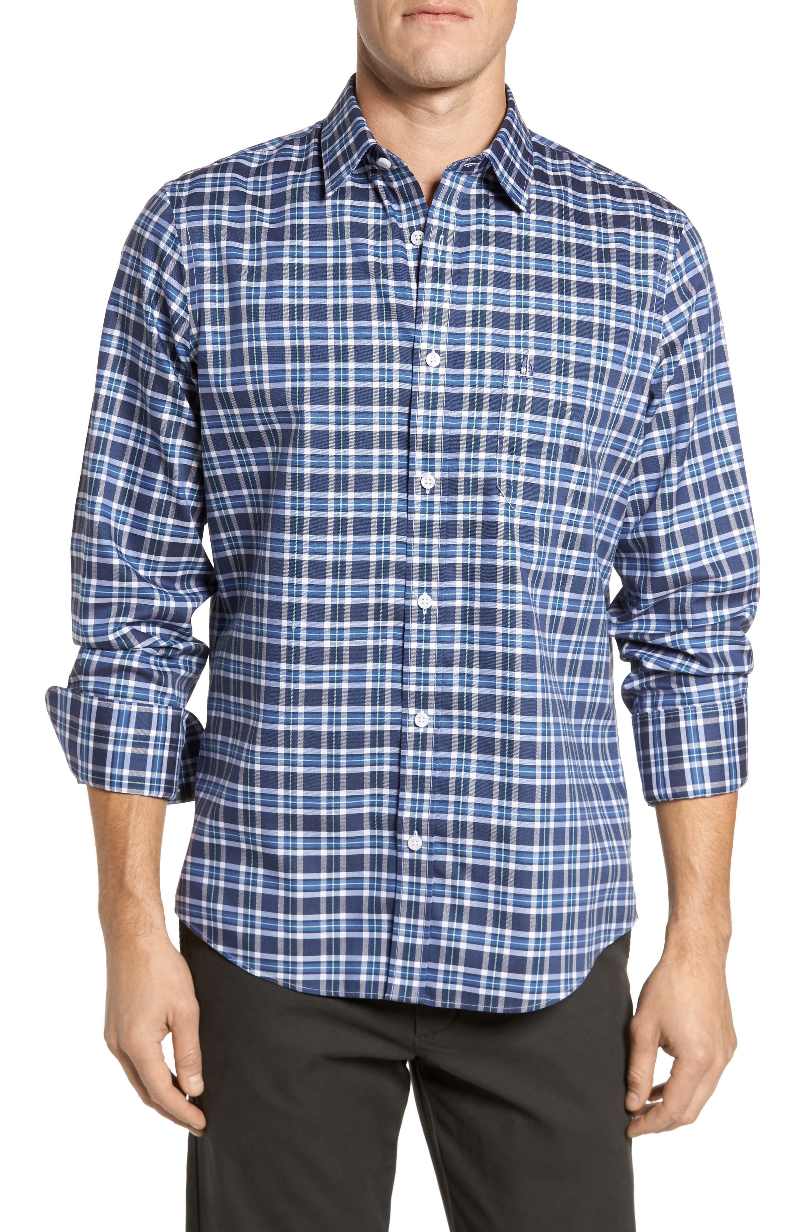Smartcare<sup>™</sup> Regular Fit Plaid Sport Shirt,                             Main thumbnail 5, color,