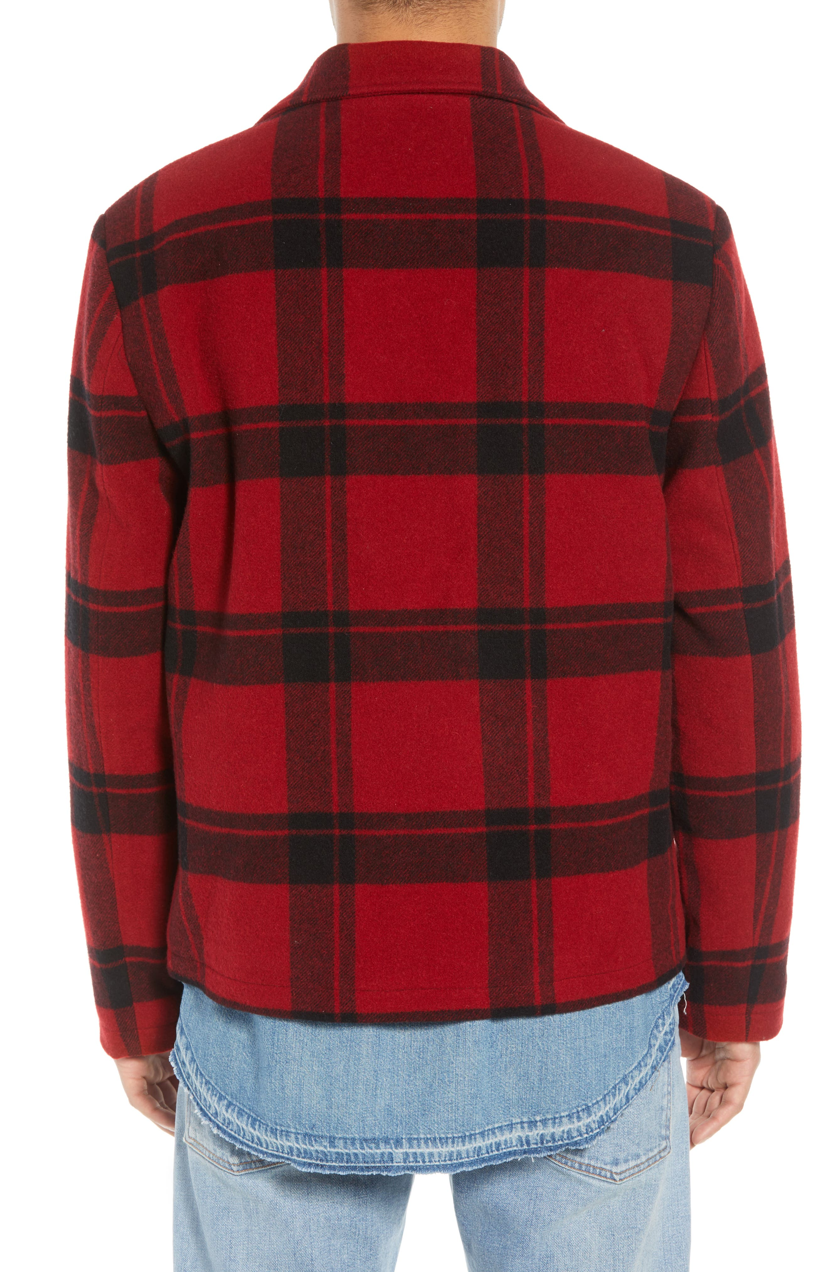 Classic Fit Plaid Wool Trapper Jacket,                             Alternate thumbnail 2, color,                             RED/ BLACK