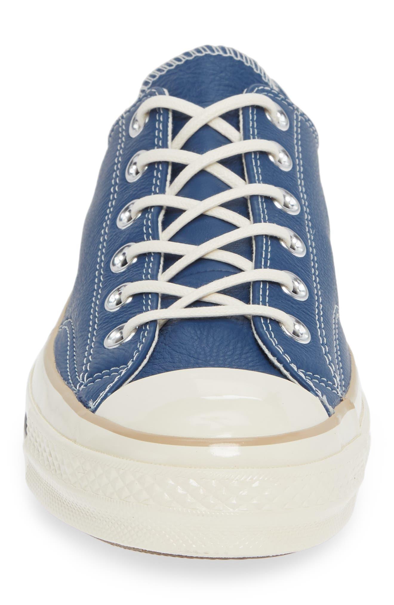 Chuck 70 Boot Leather Low Top Sneaker,                             Alternate thumbnail 4, color,                             DARK BURGUNDY/ CYAN/ EGRET