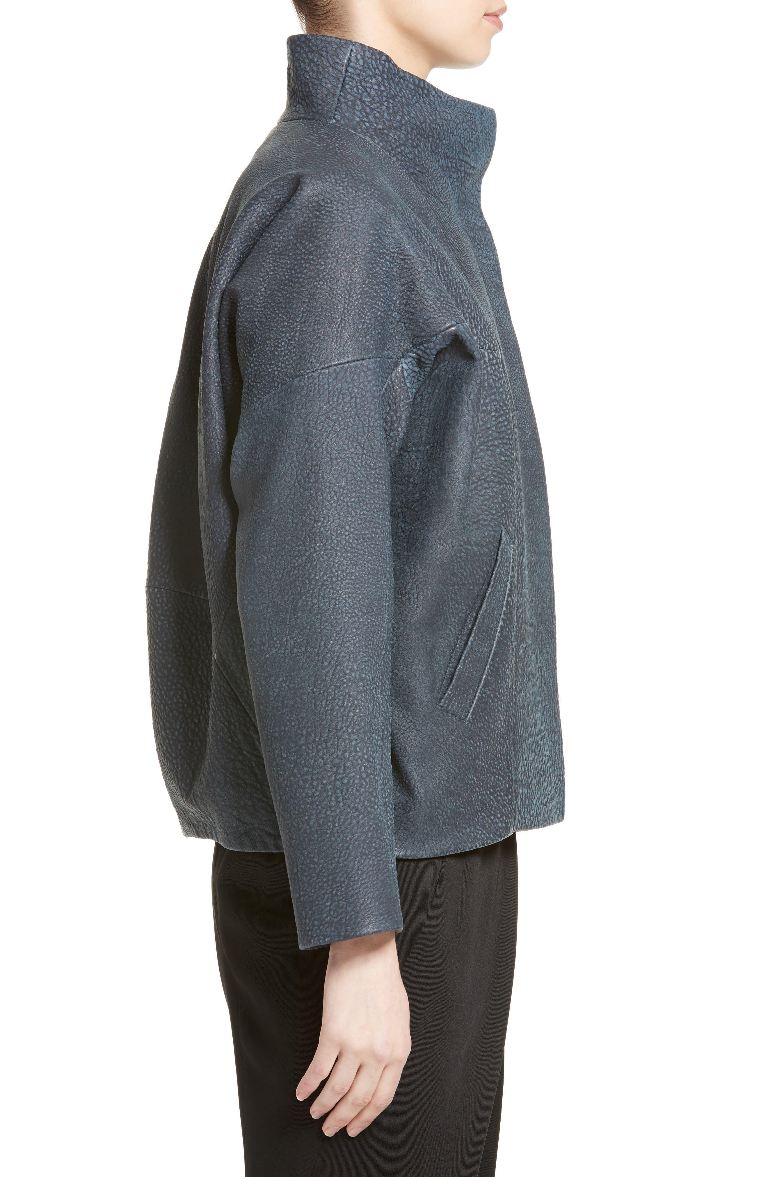 Osita Leather Bomber Jacket,                             Alternate thumbnail 3, color,                             002