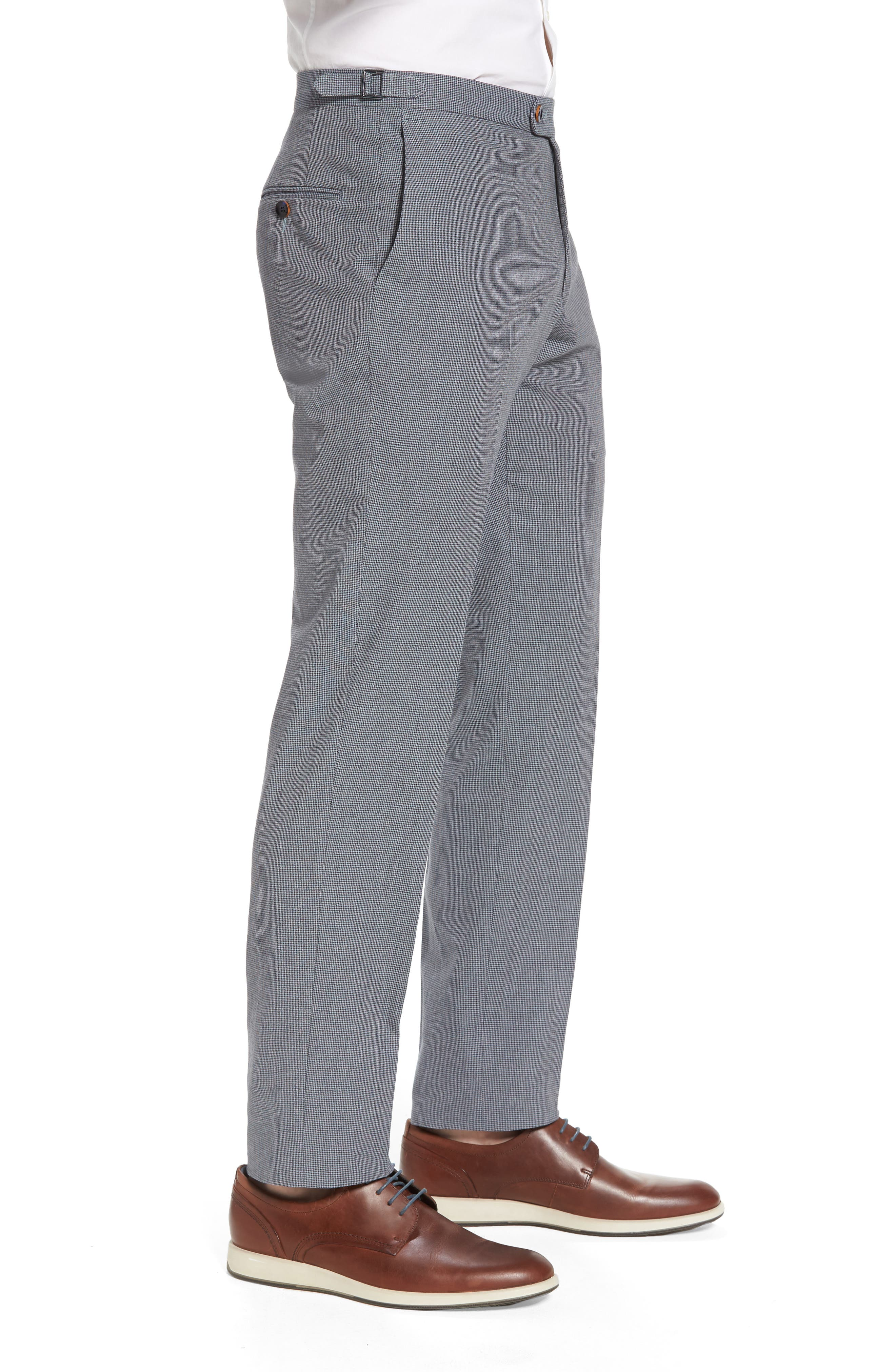 Flat Front Houndstooth Cotton Trousers,                             Alternate thumbnail 3, color,                             431