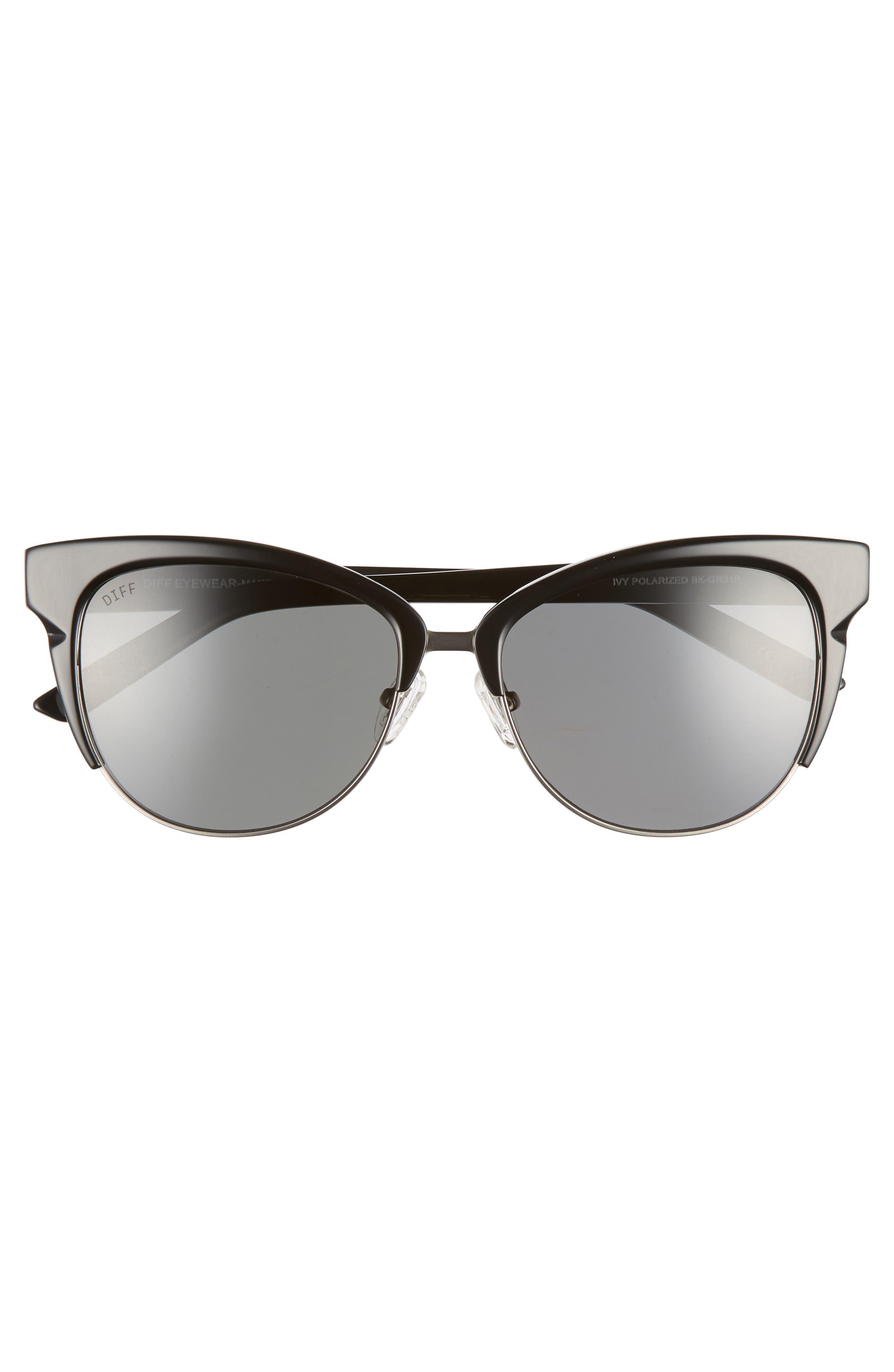 Ivy 56mm Polarized Cat Eye Sunglasses,                             Alternate thumbnail 2, color,                             BLACK/ DARK SMOKE
