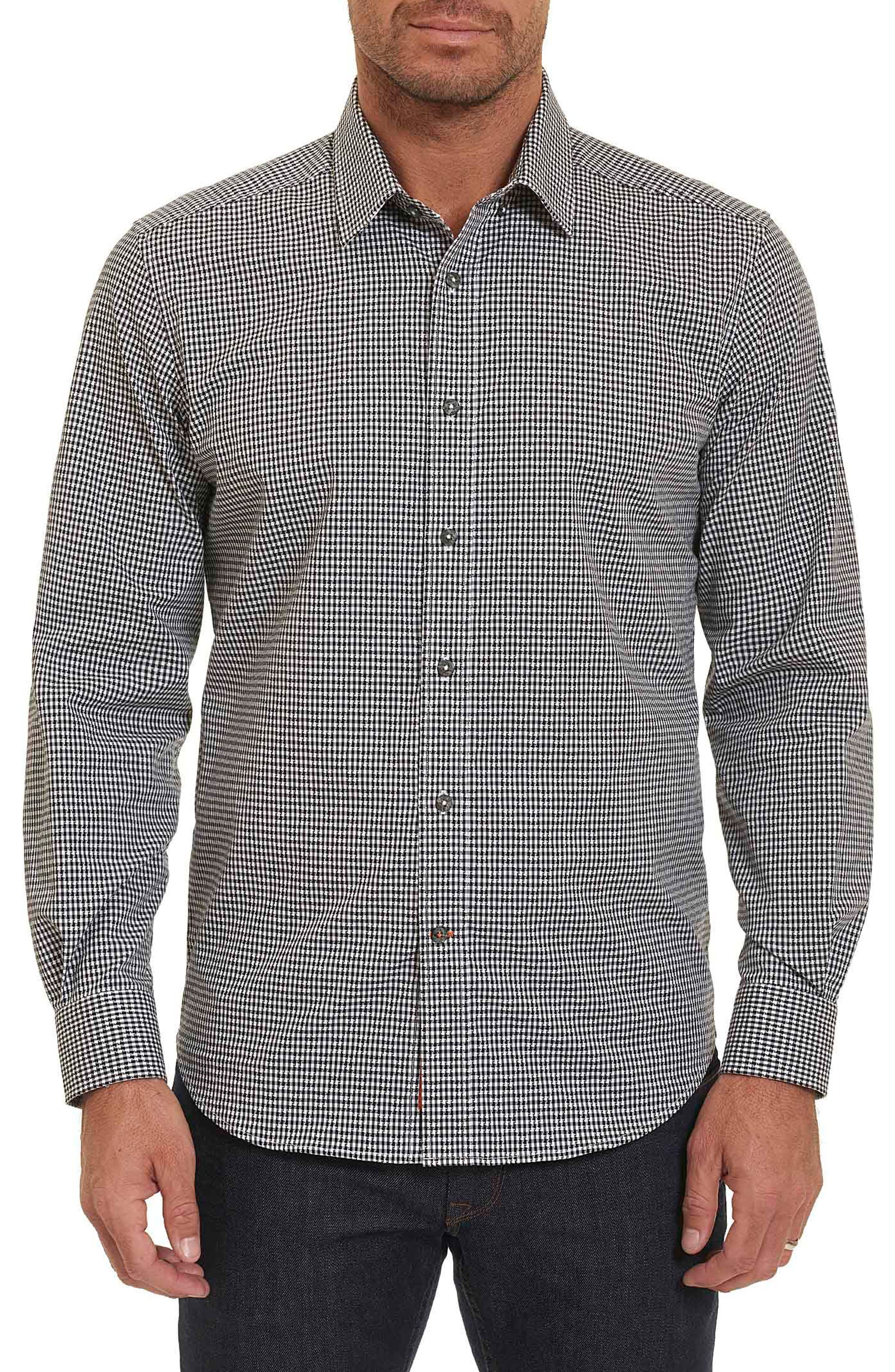 Wade Tailored Fit Check Sport Shirt,                         Main,                         color, 001