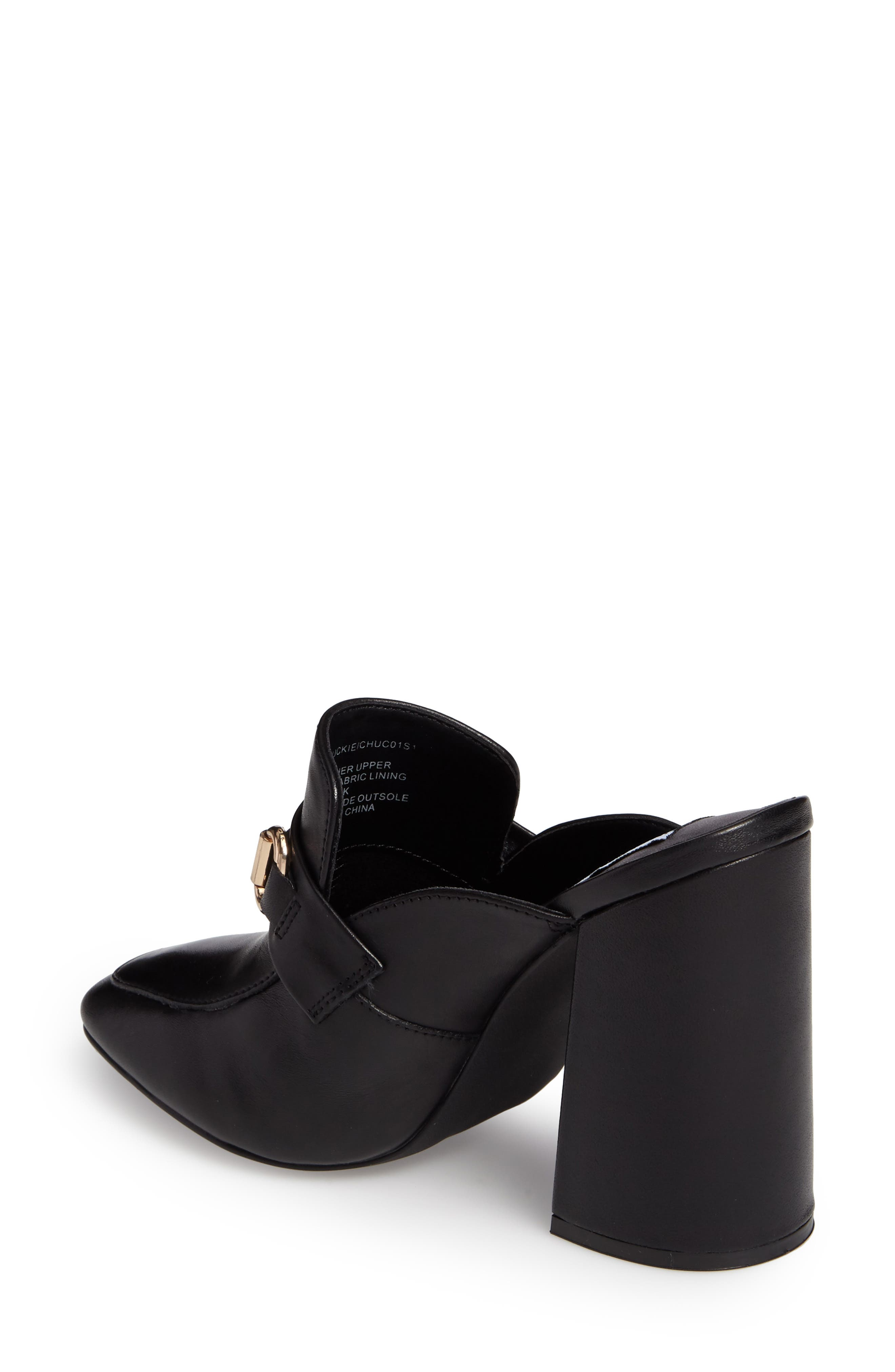 Chuckie Flared Heel Loafer Mule,                             Alternate thumbnail 2, color,                             001
