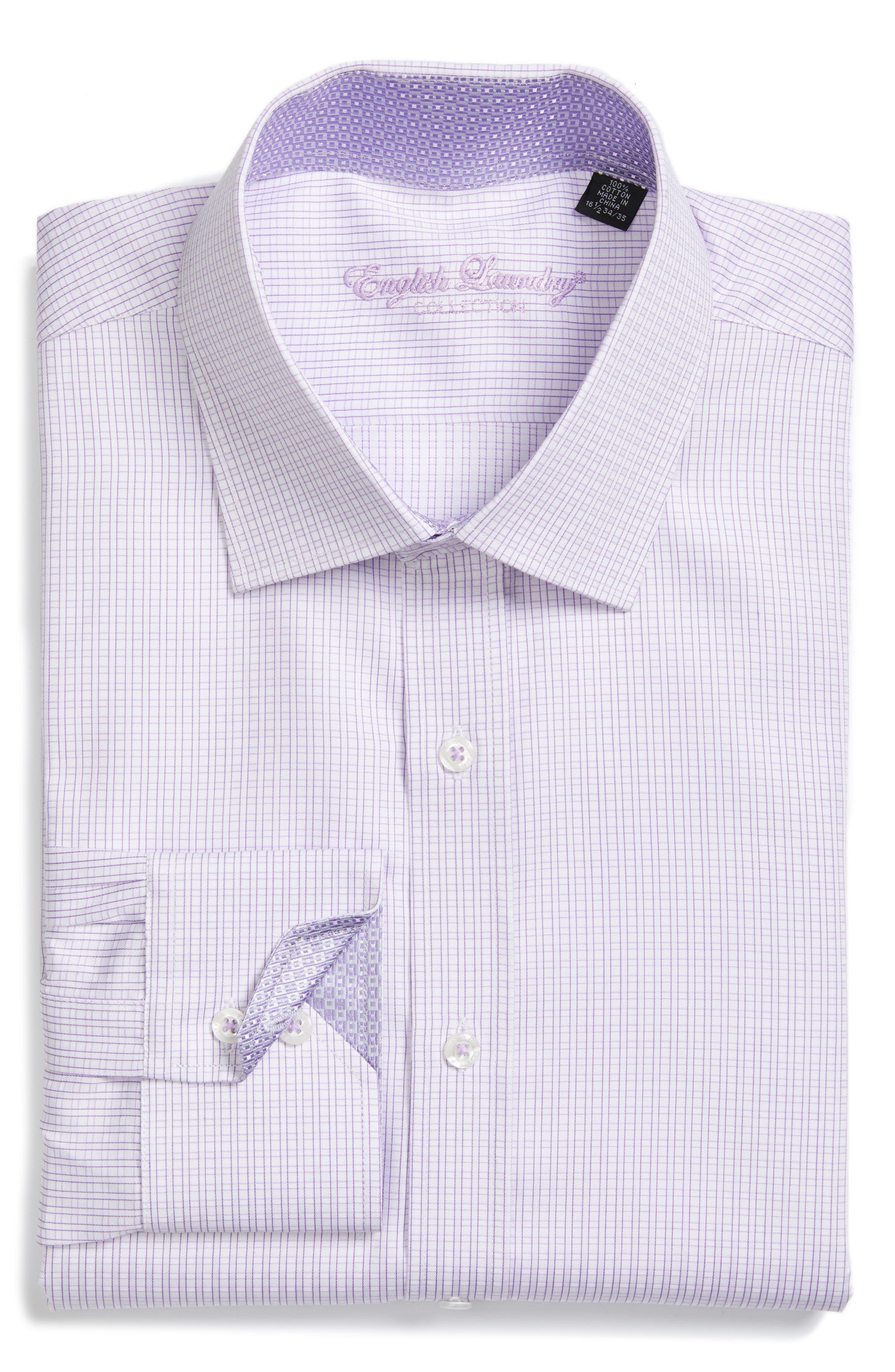Trim Fit Check Dress Shirt,                             Main thumbnail 1, color,                             530