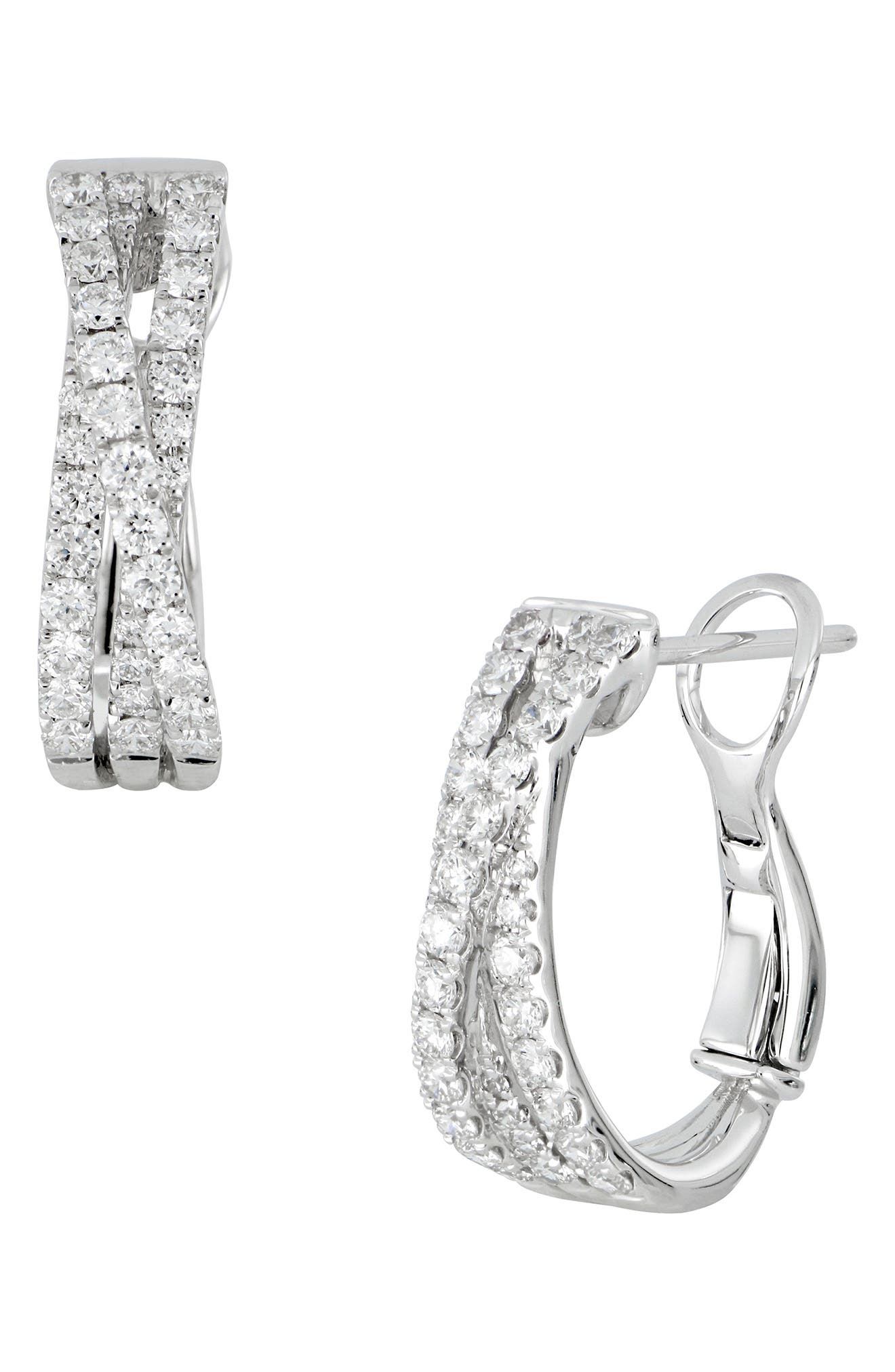 Twist Diamond Hoop Earrings,                         Main,                         color, WHITE GOLD/ DIAMOND
