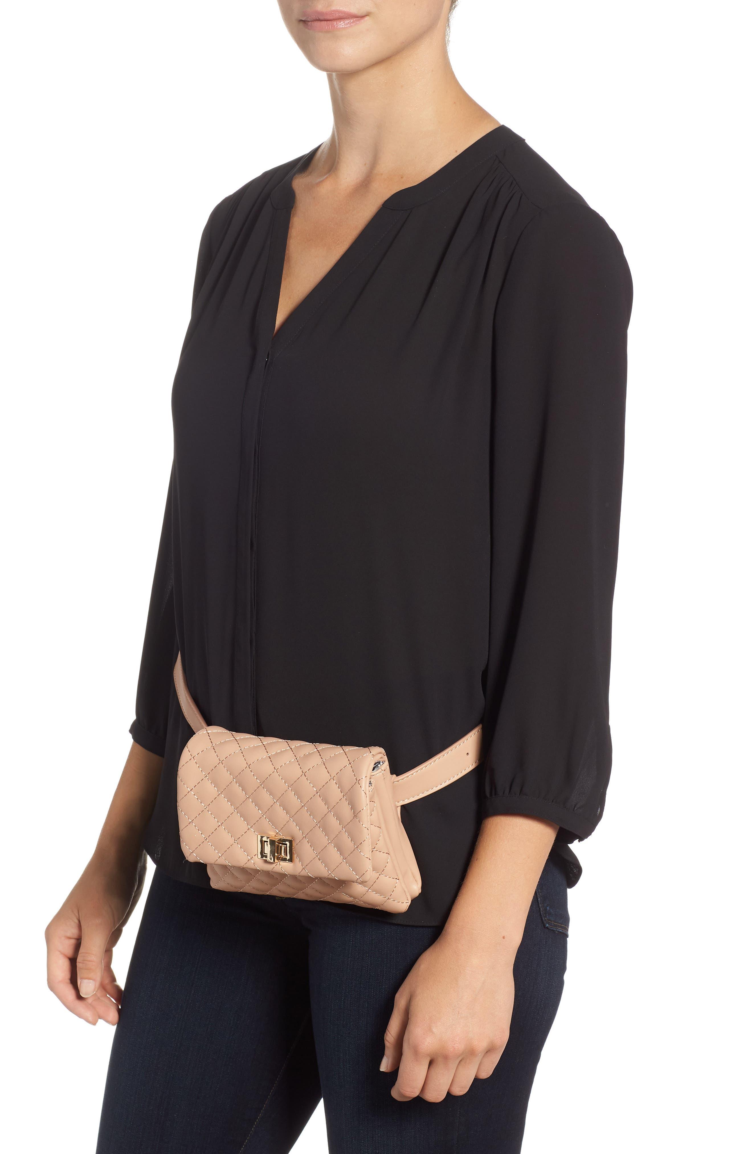 Mali + Lili Quilted Vegan Leather Belt Bag,                             Alternate thumbnail 2, color,                             CAMEL