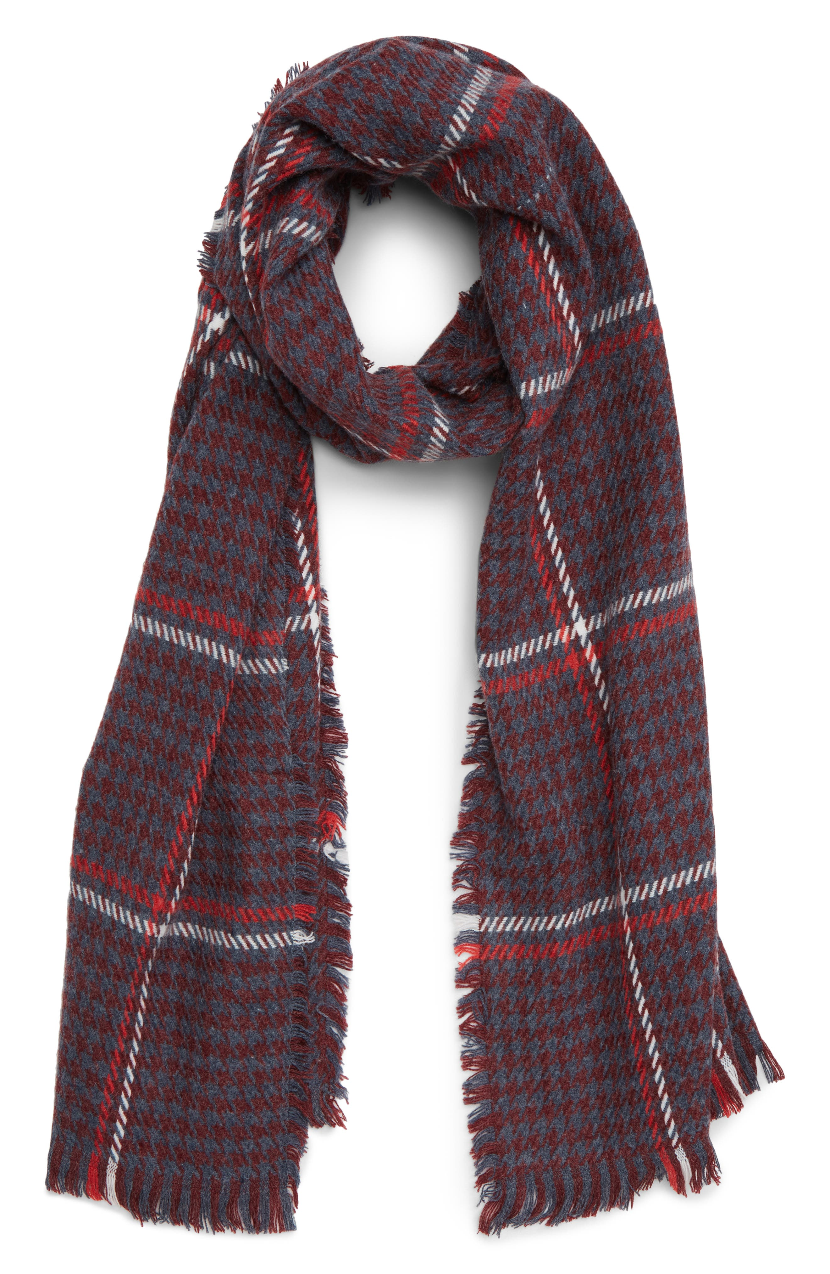 Contrast Houndstooth Scarf,                             Main thumbnail 1, color,                             610