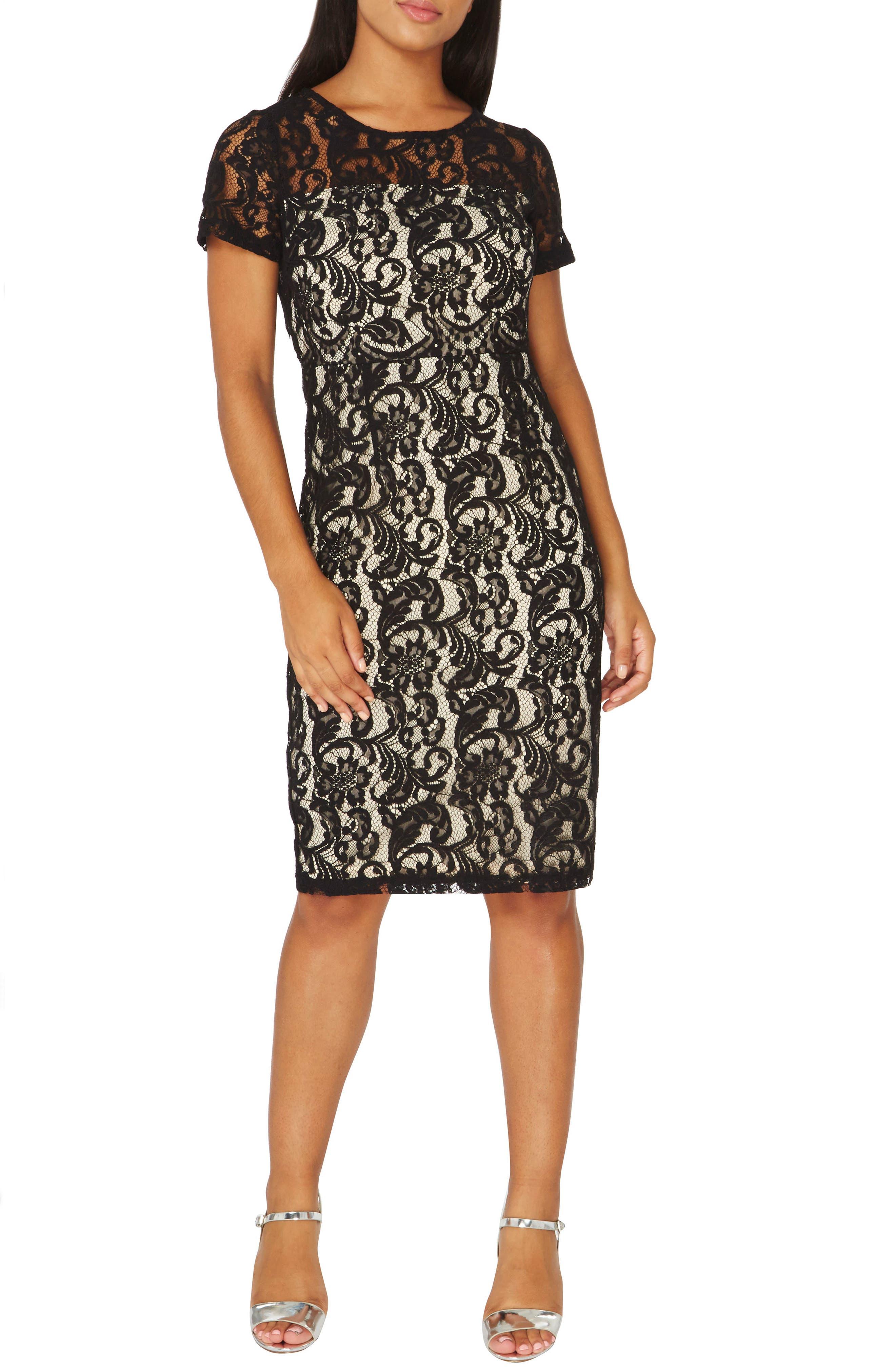 Lace Pencil Dress,                             Main thumbnail 1, color,                             001