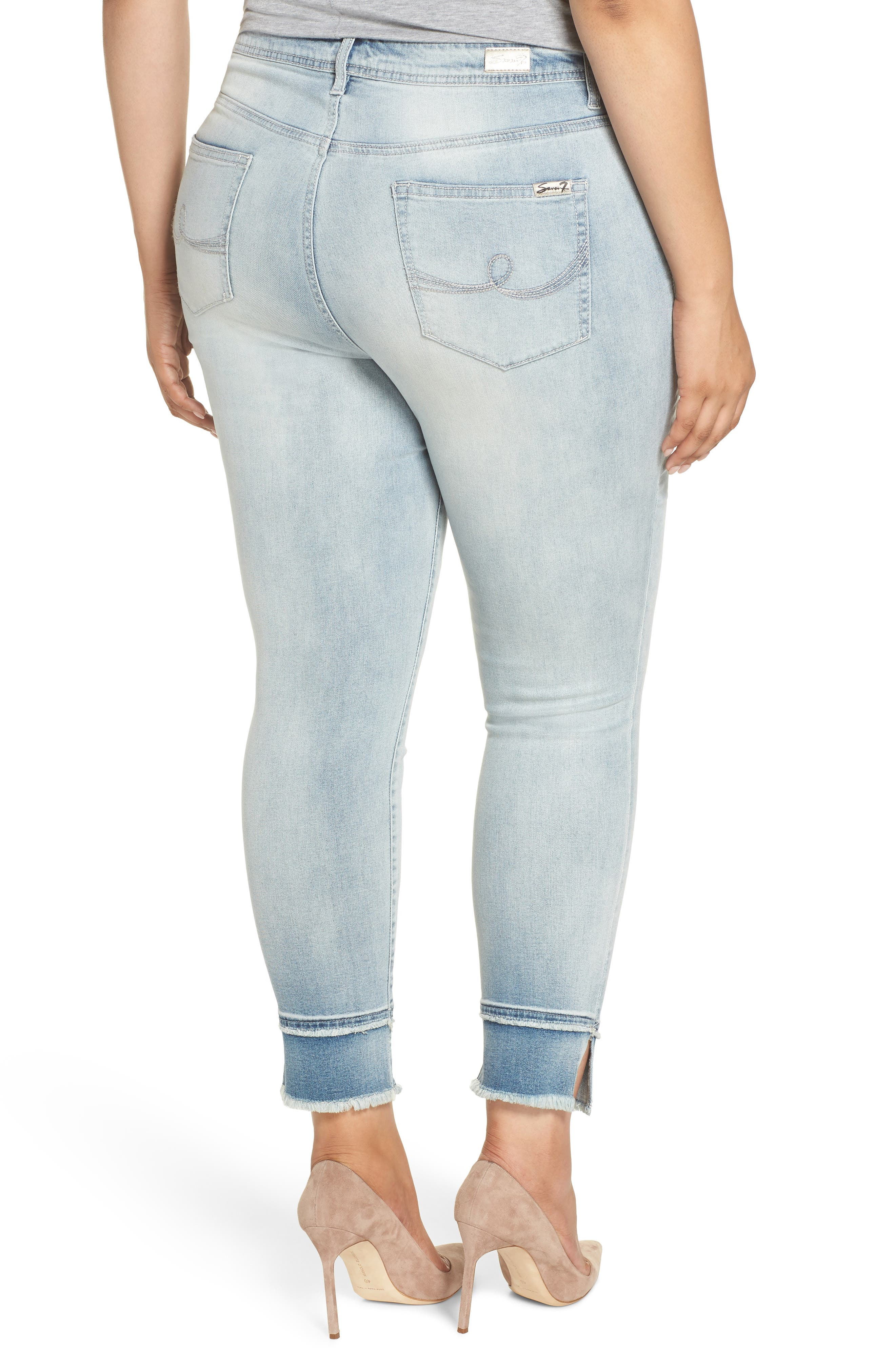 Double Raw Hem High Waist Skinny Jeans,                             Alternate thumbnail 2, color,                             SAWYER