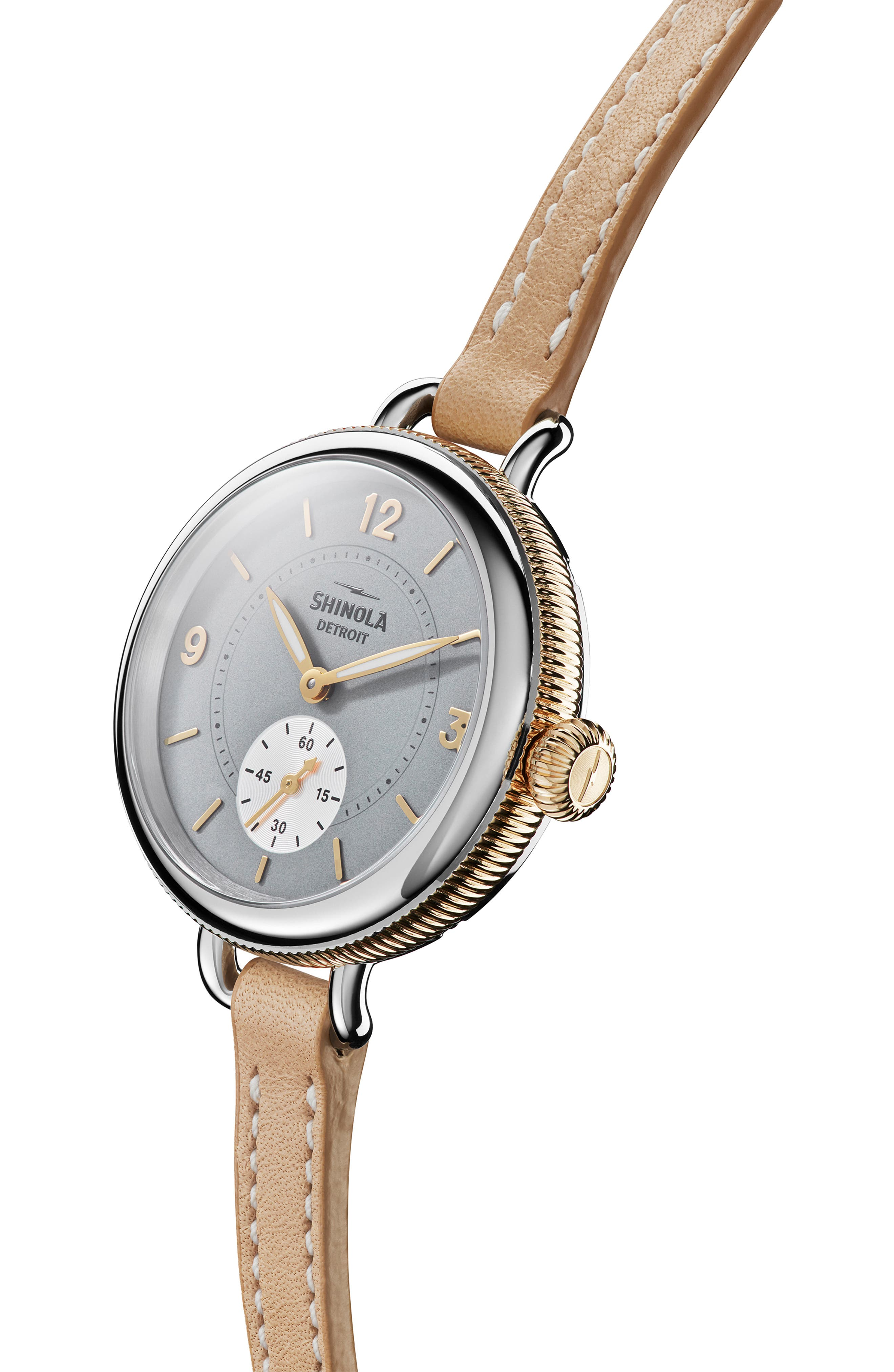 The Birdy Leather Strap Watch, 34mm,                             Alternate thumbnail 5, color,                             TAN/ GREY/ GOLD