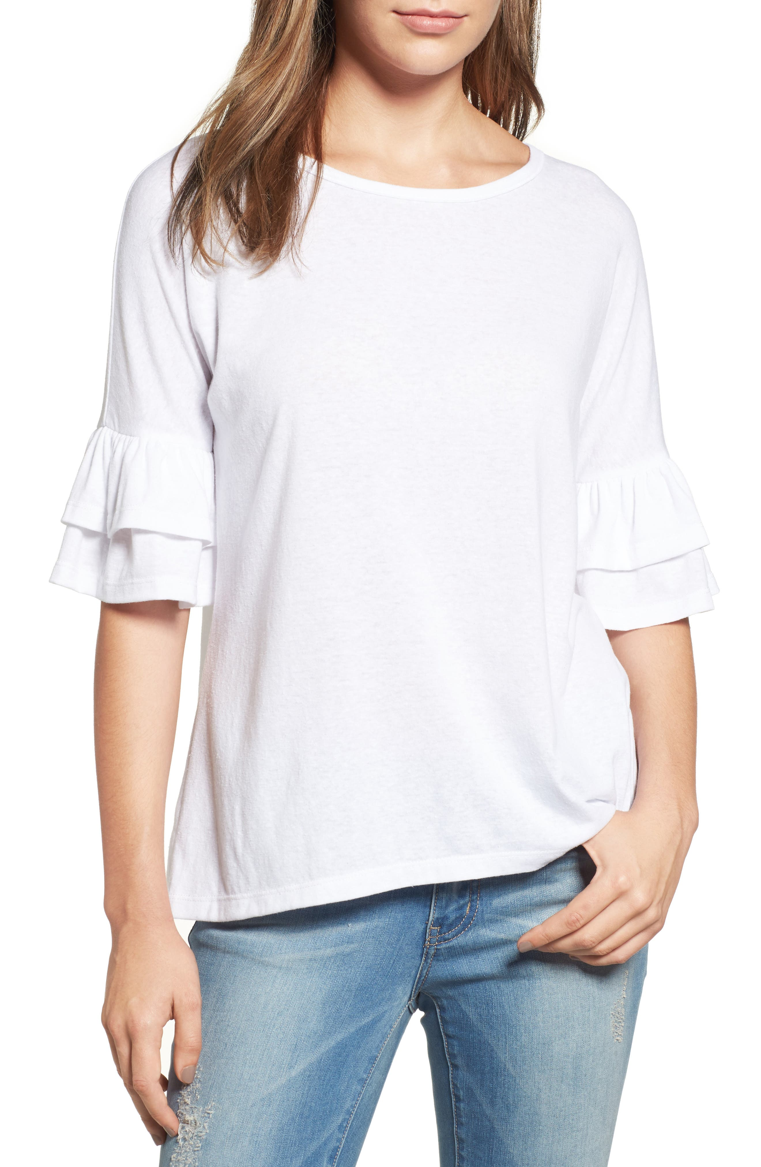 Tiered Bell Sleeve Tee,                             Main thumbnail 4, color,