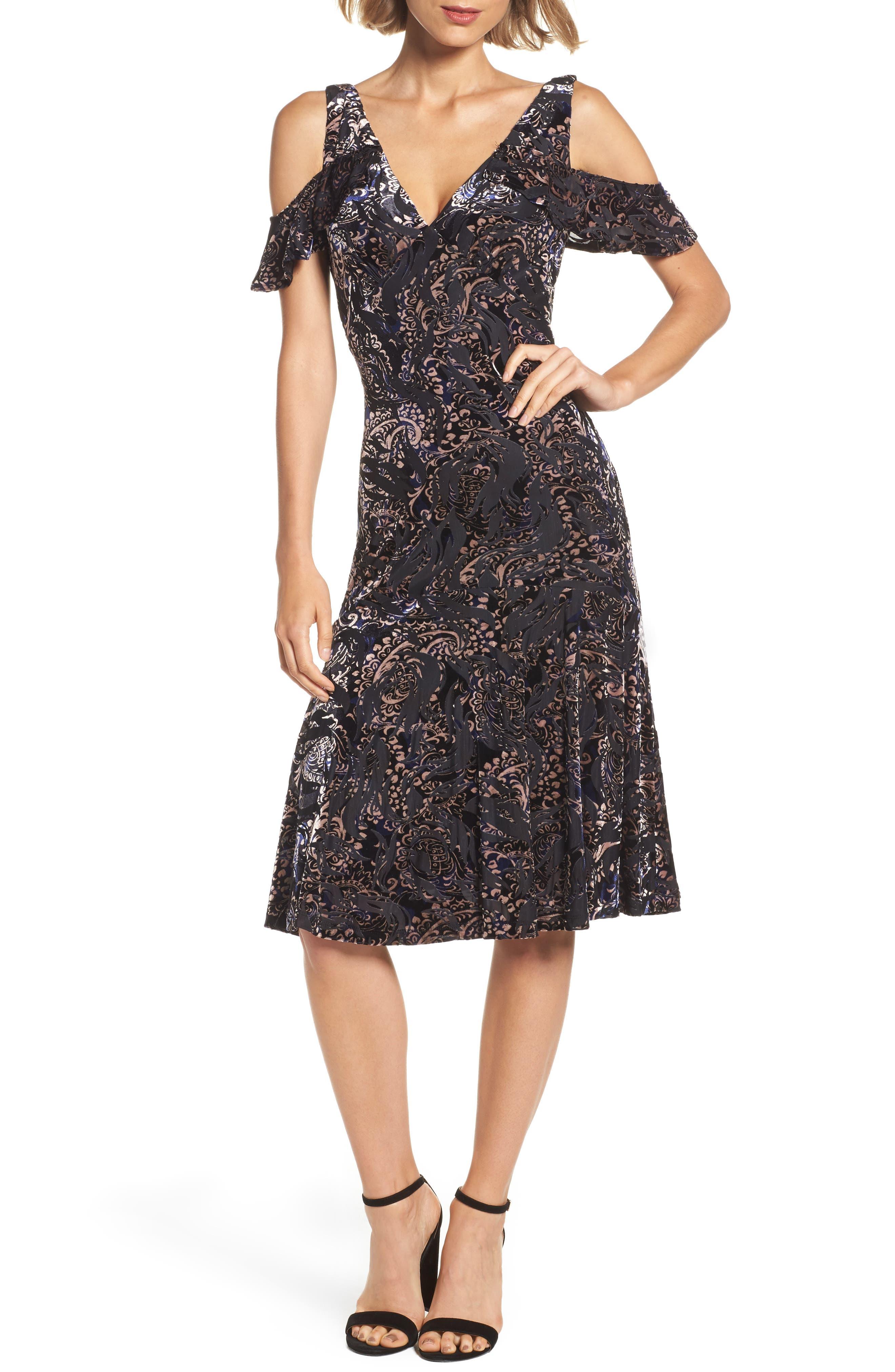 Cold Shoulder Velvet Burnout Dress,                         Main,                         color, 400