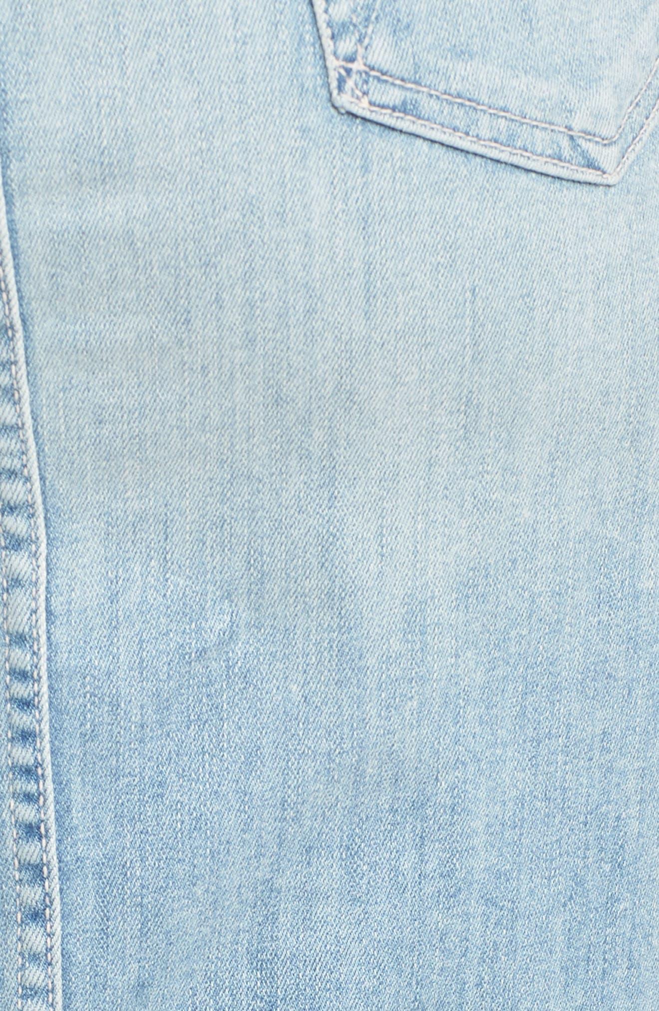 The Tie Back Frayed Denim Dress,                             Alternate thumbnail 6, color,                             TINGE