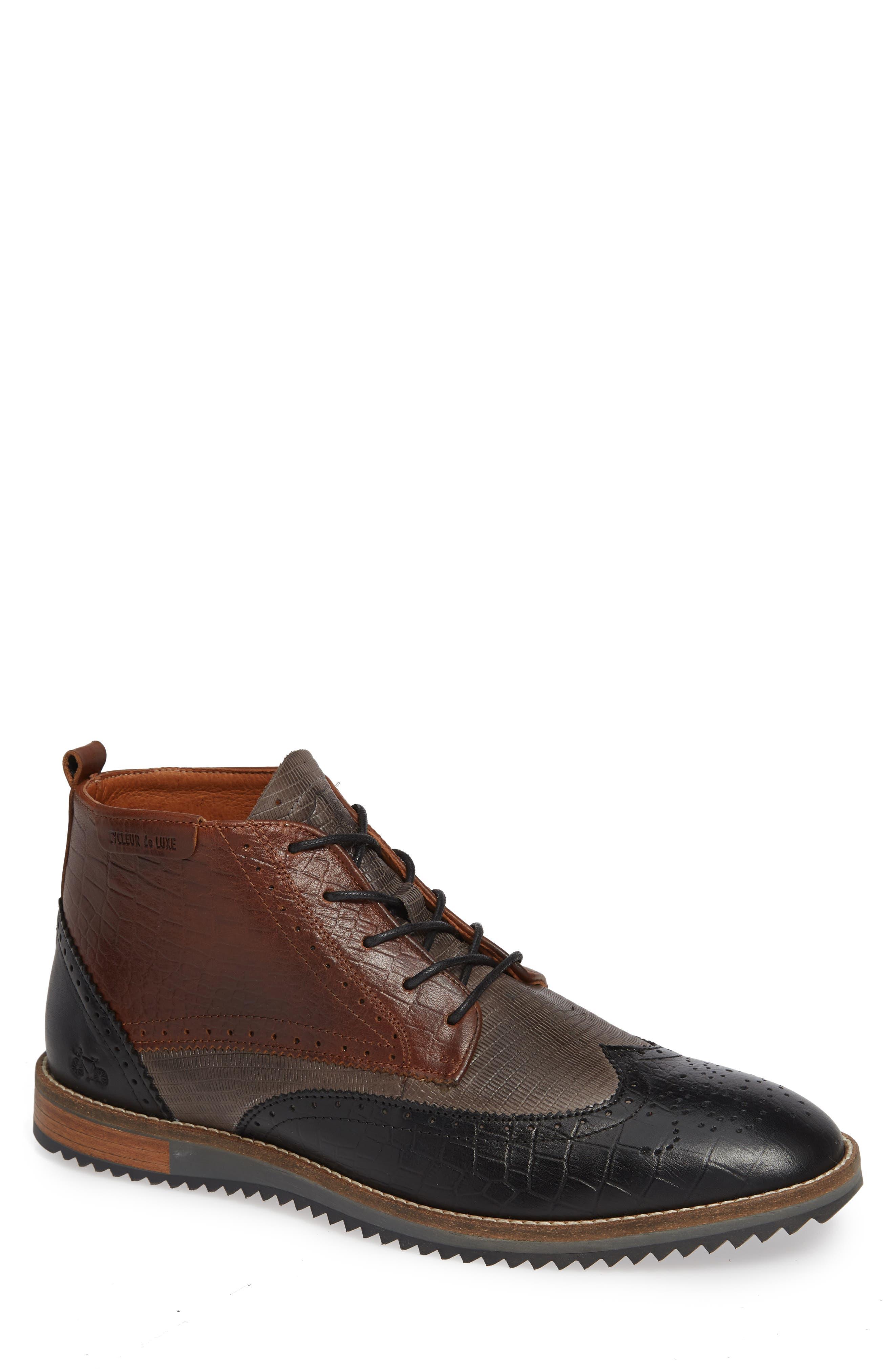 Lima Wingtip Boot,                         Main,                         color, BLACK/ GREY