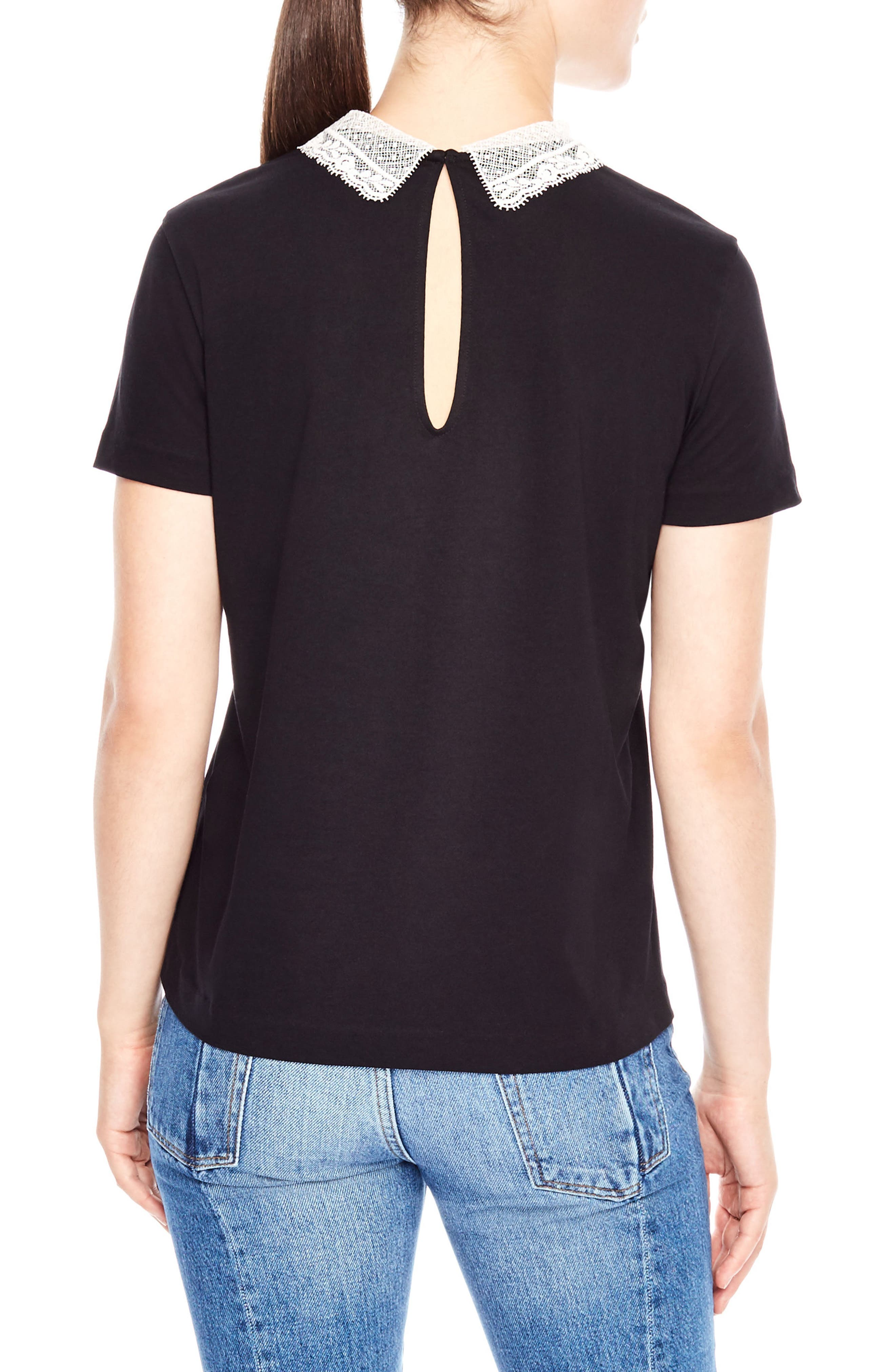 Lace Collar Tee,                             Alternate thumbnail 2, color,                             001