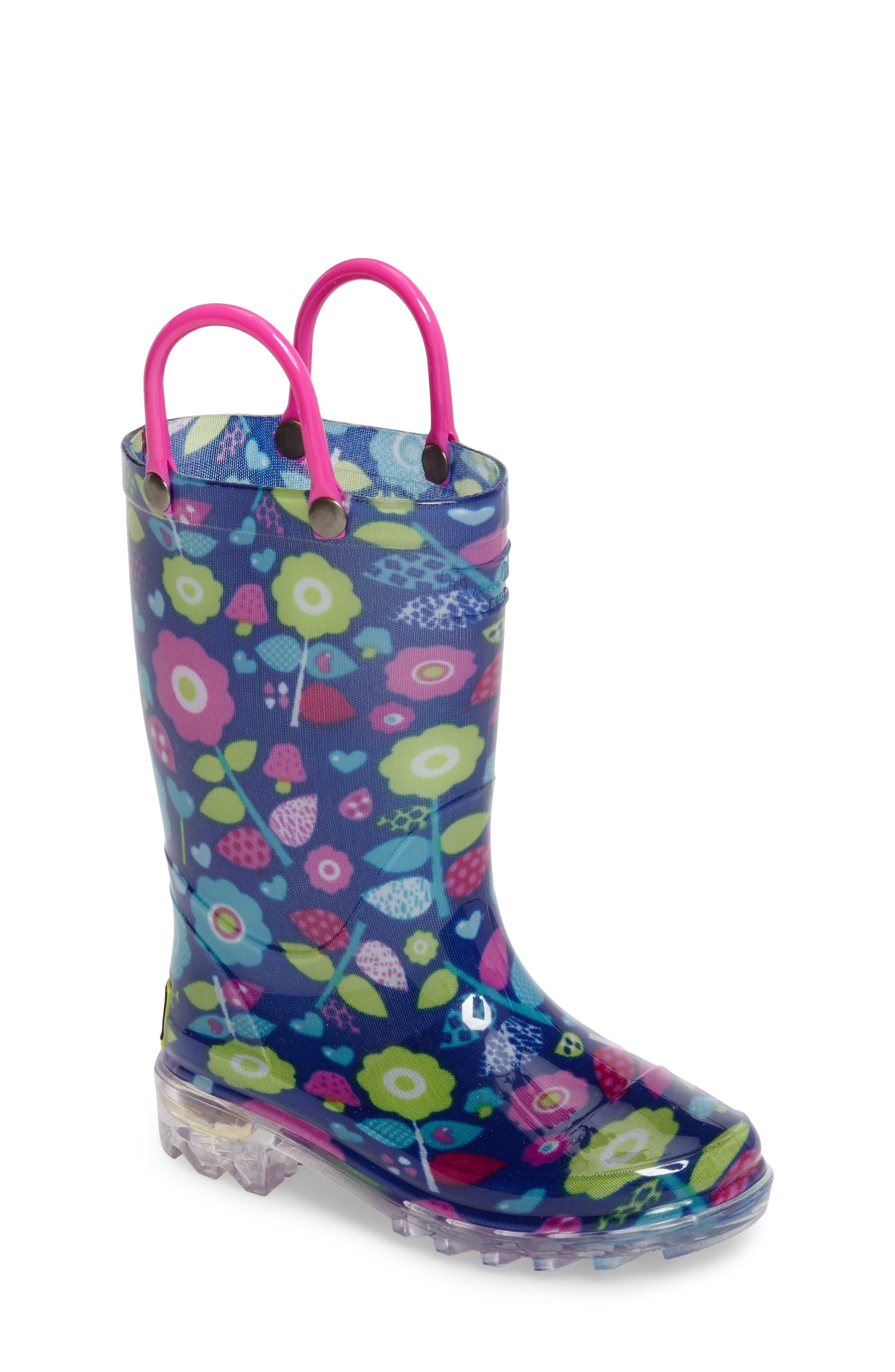Pop Flower Light-Up Rain Boot,                             Main thumbnail 1, color,