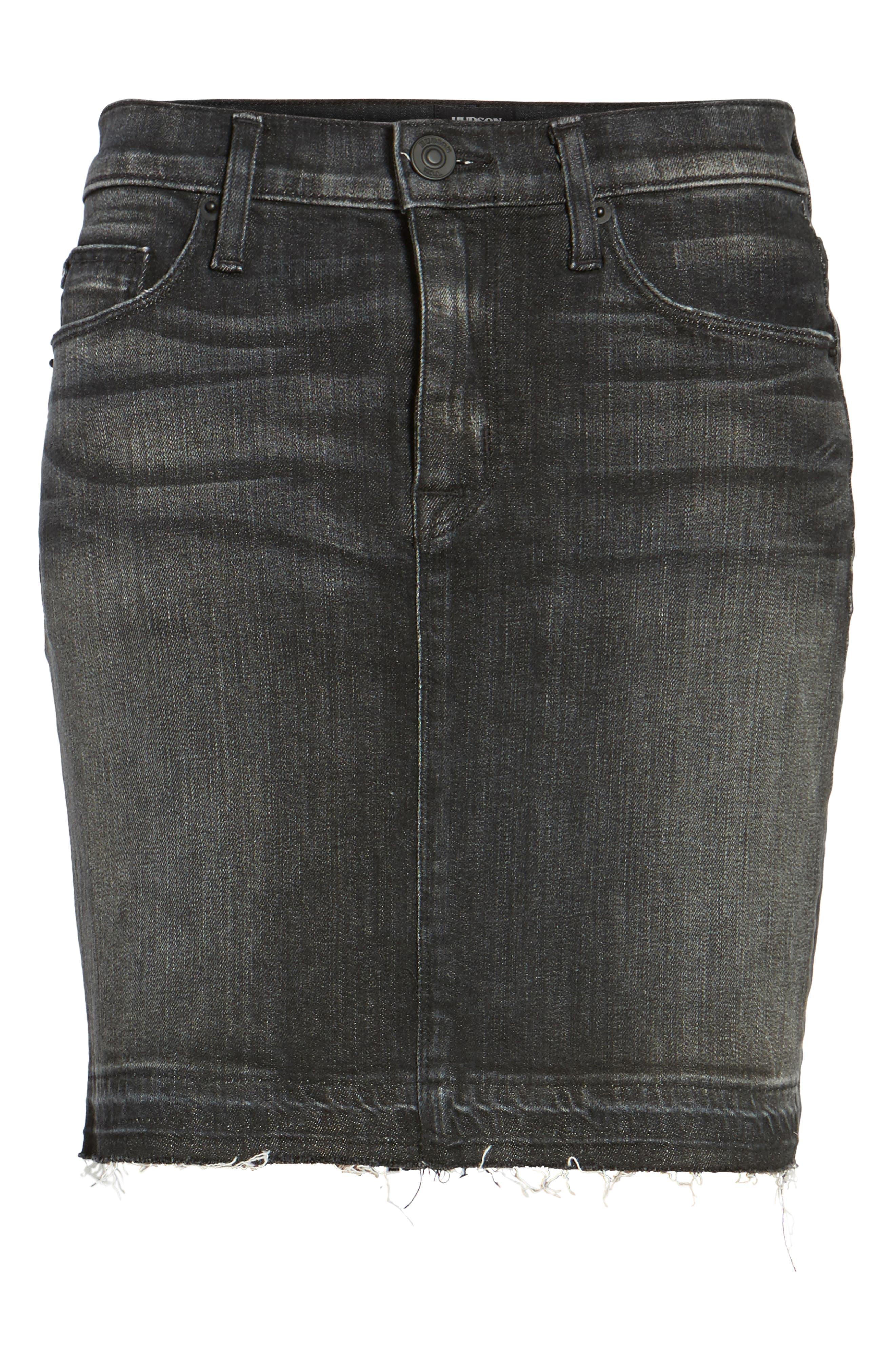 Destroyed Denim Miniskirt,                             Alternate thumbnail 6, color,                             001