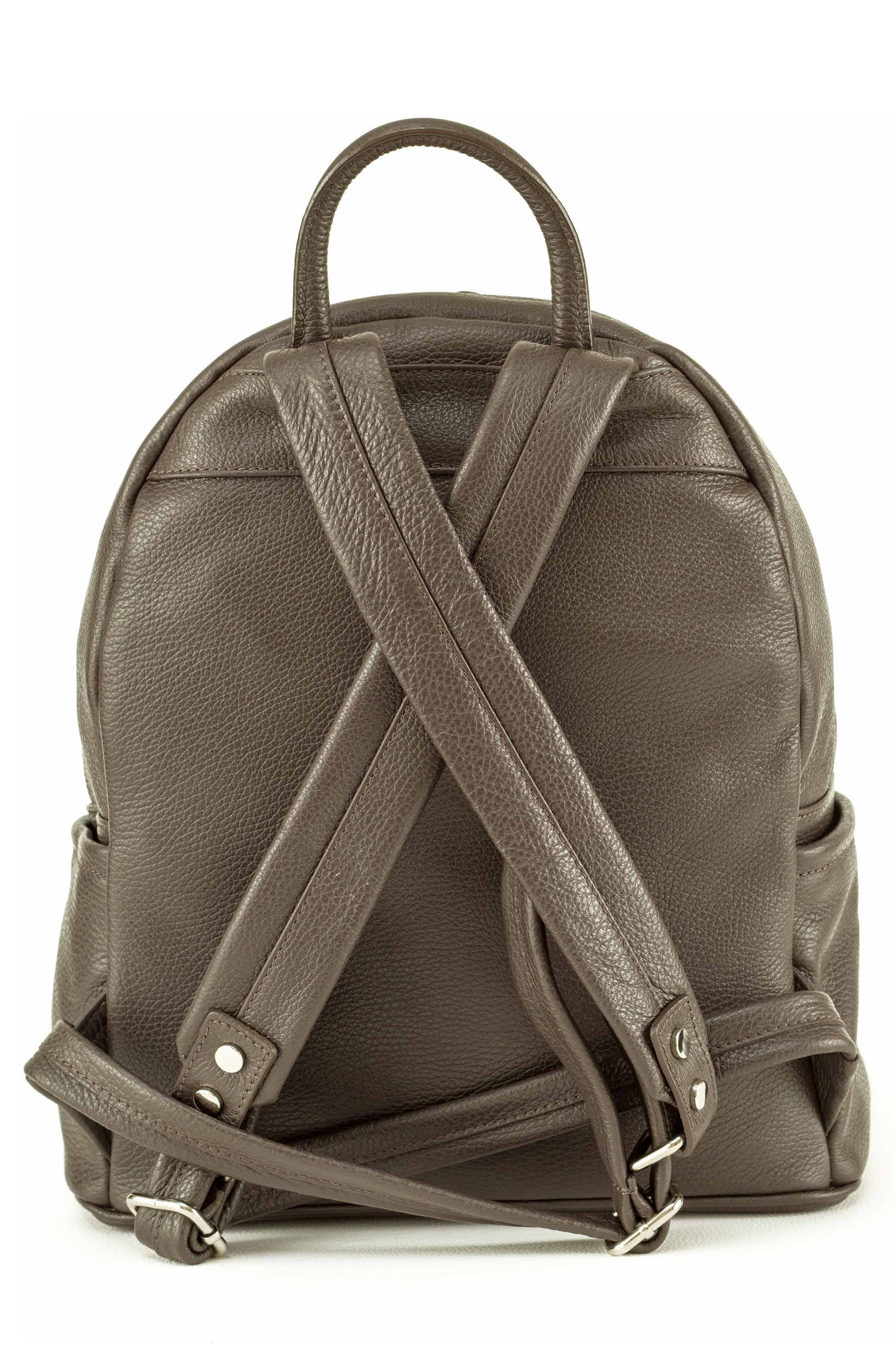 Leather Backpack,                             Alternate thumbnail 3, color,                             MARRONE