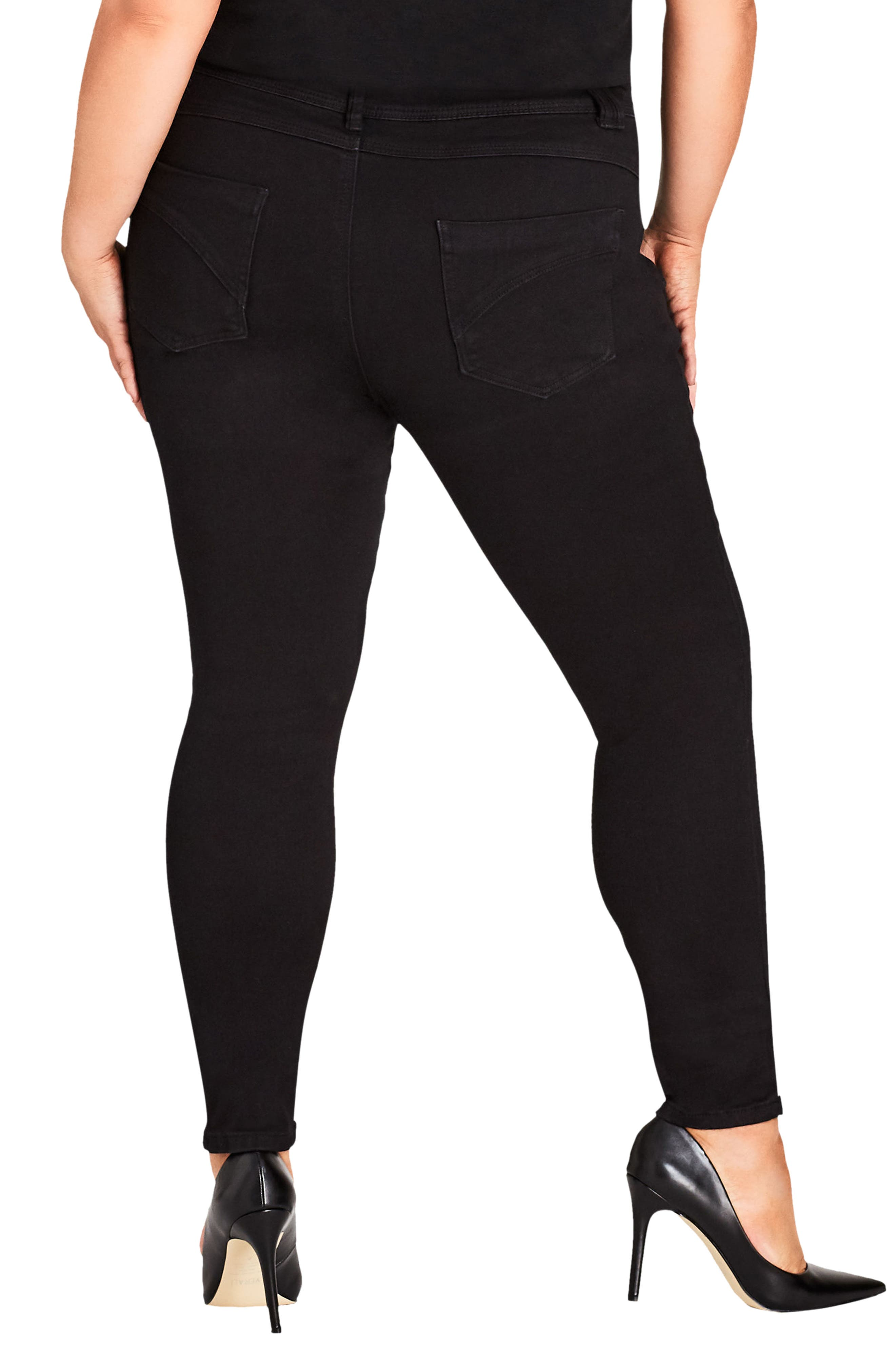Asha Ankle Skinny Jeans,                             Alternate thumbnail 2, color,                             BLACK