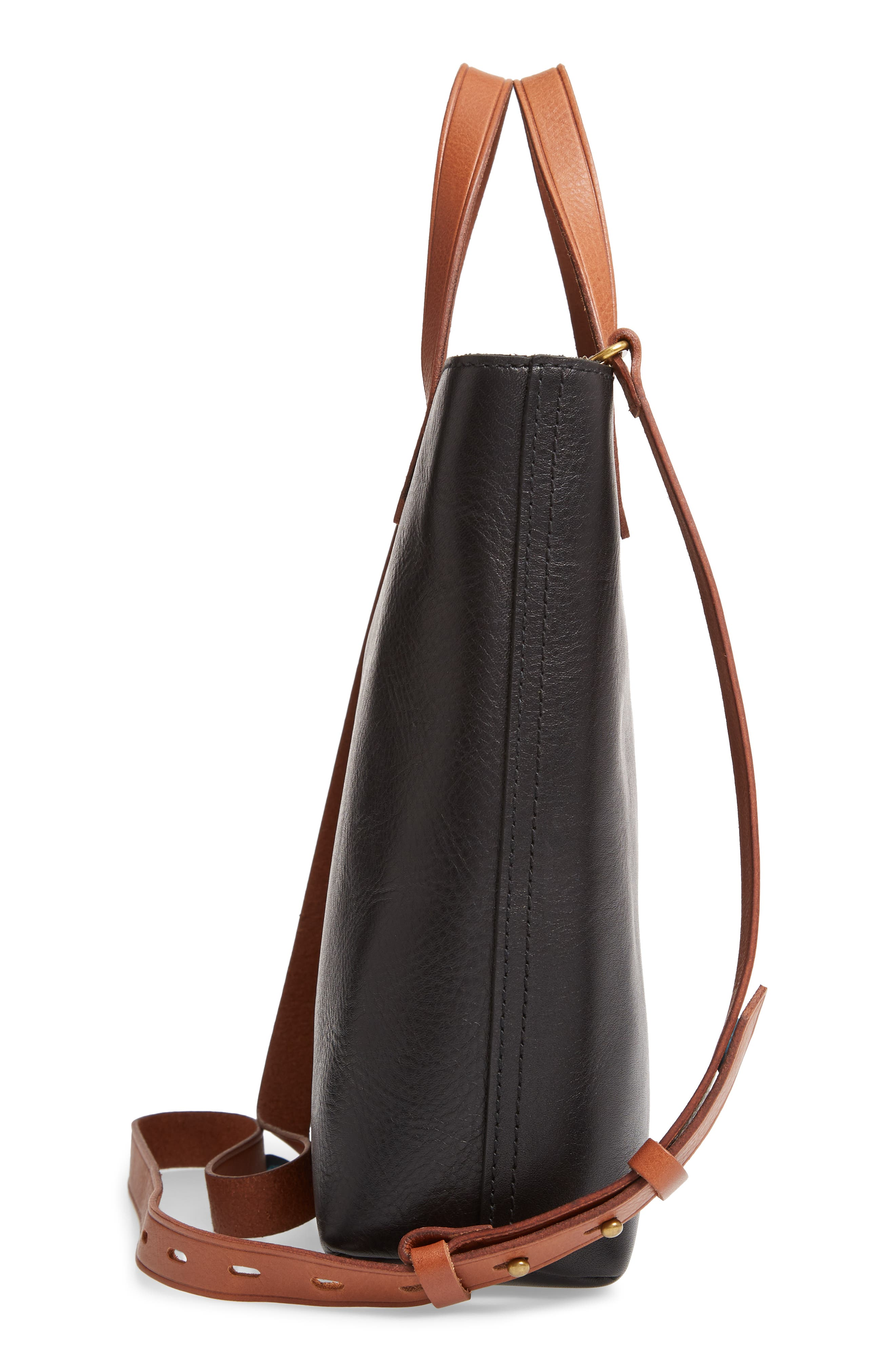 Small Transport Leather Crossbody Tote,                             Alternate thumbnail 5, color,                             TRUE BLACK W/ BROWN