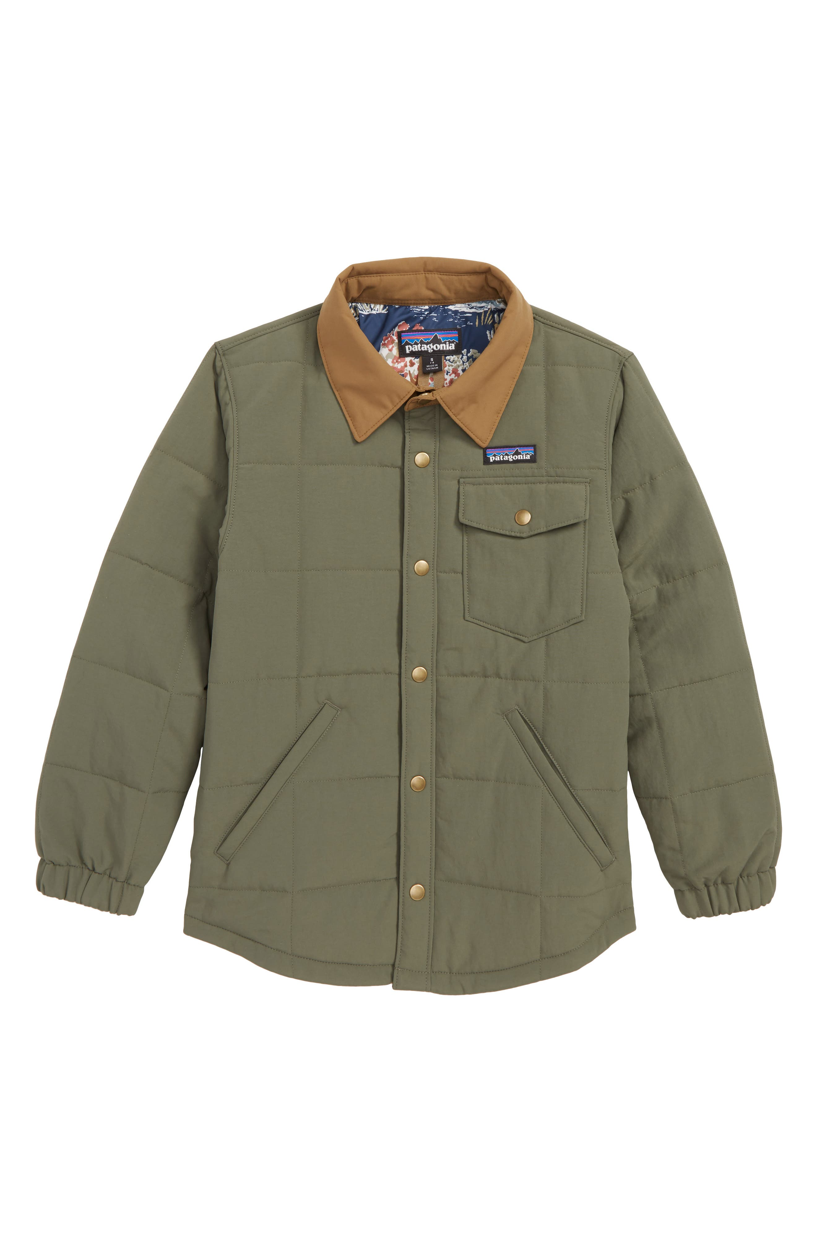 Wind & Water Resistant Quilted Shirt Jacket,                         Main,                         color, INDUSTRIAL GREEN