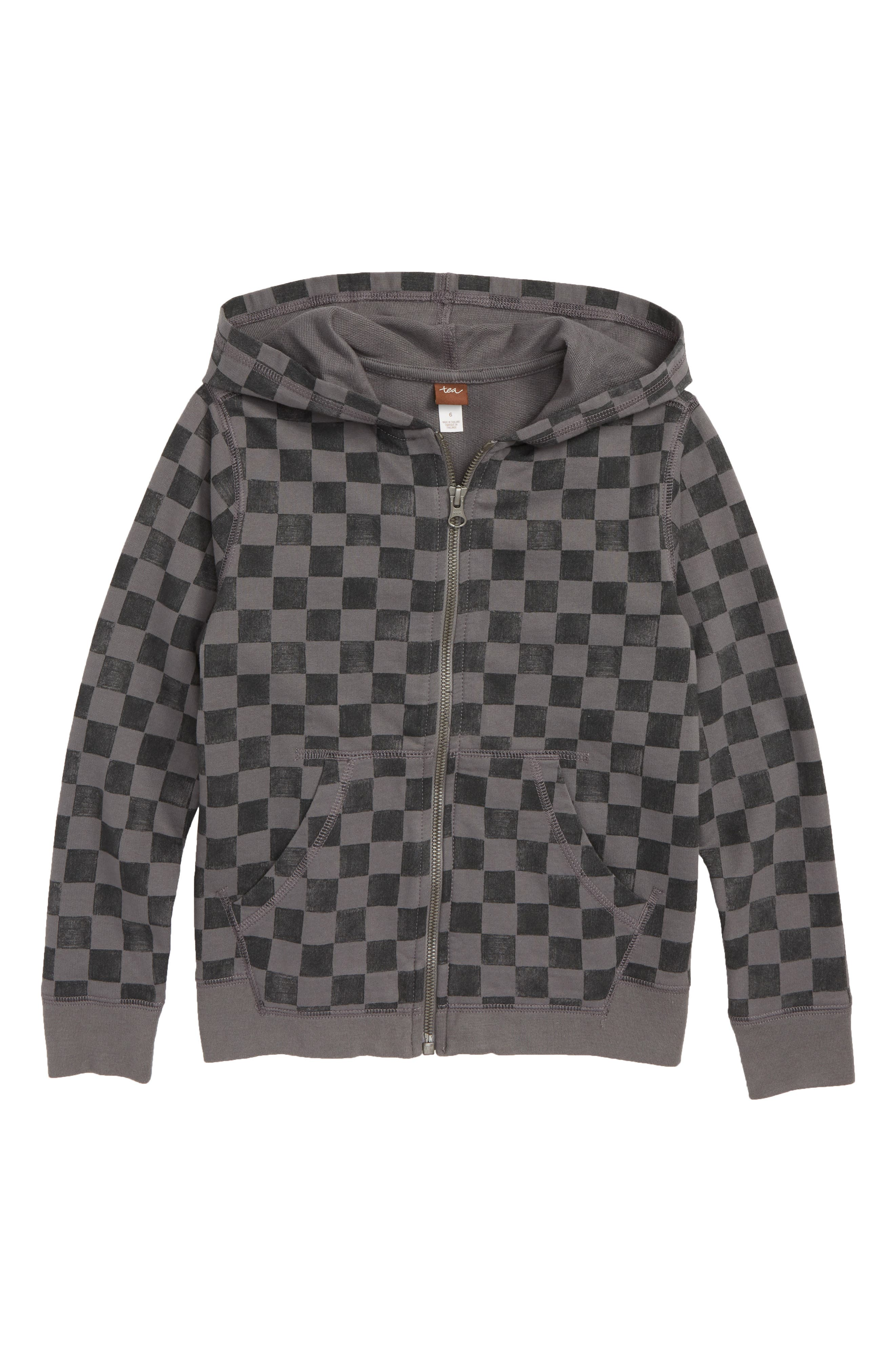 Checkerboard Zip Hoodie,                         Main,                         color, SOHO SQUARES