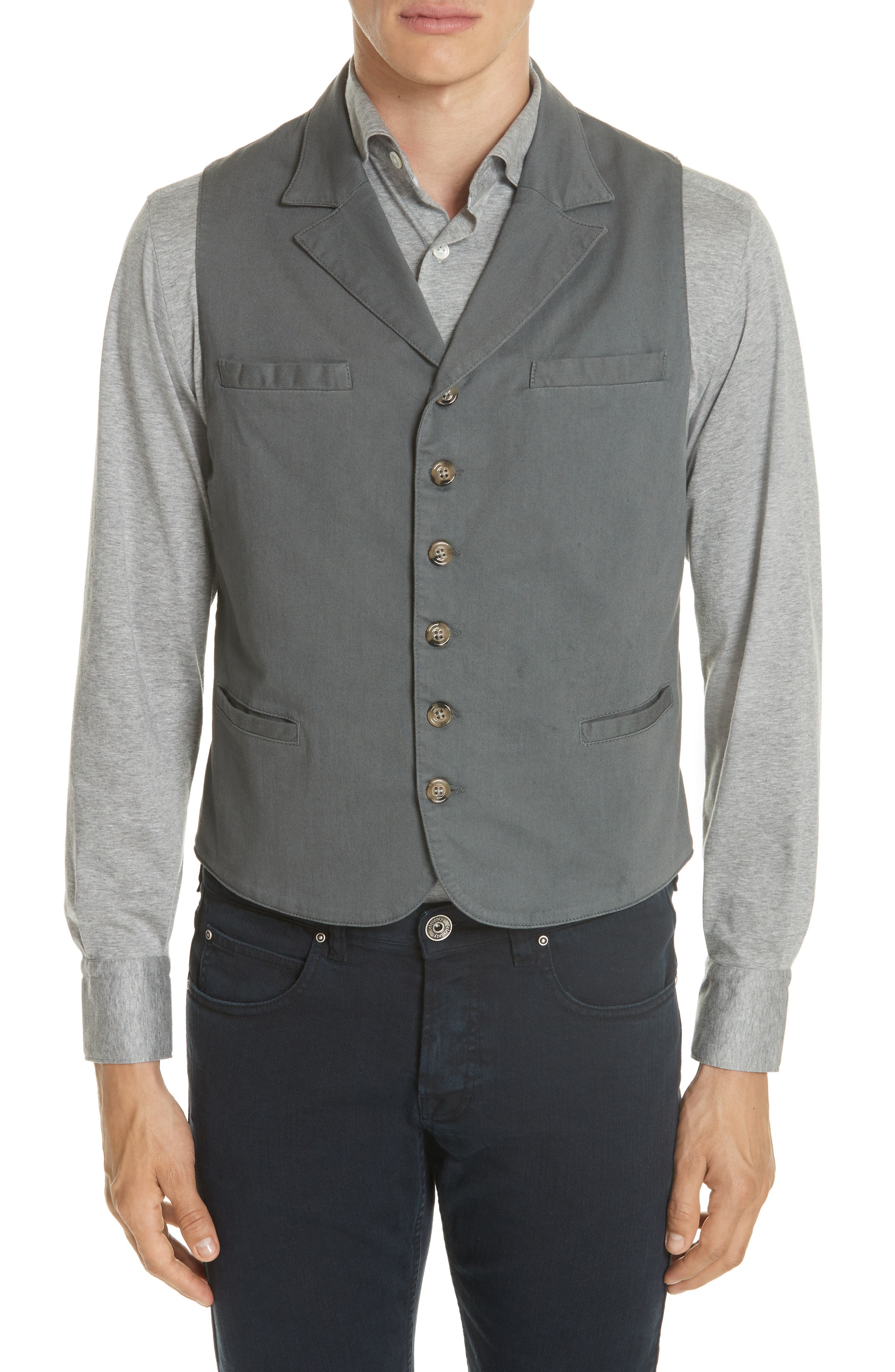 Slim Fit Stretch Cotton Twill Vest,                             Main thumbnail 1, color,                             DARK GREY