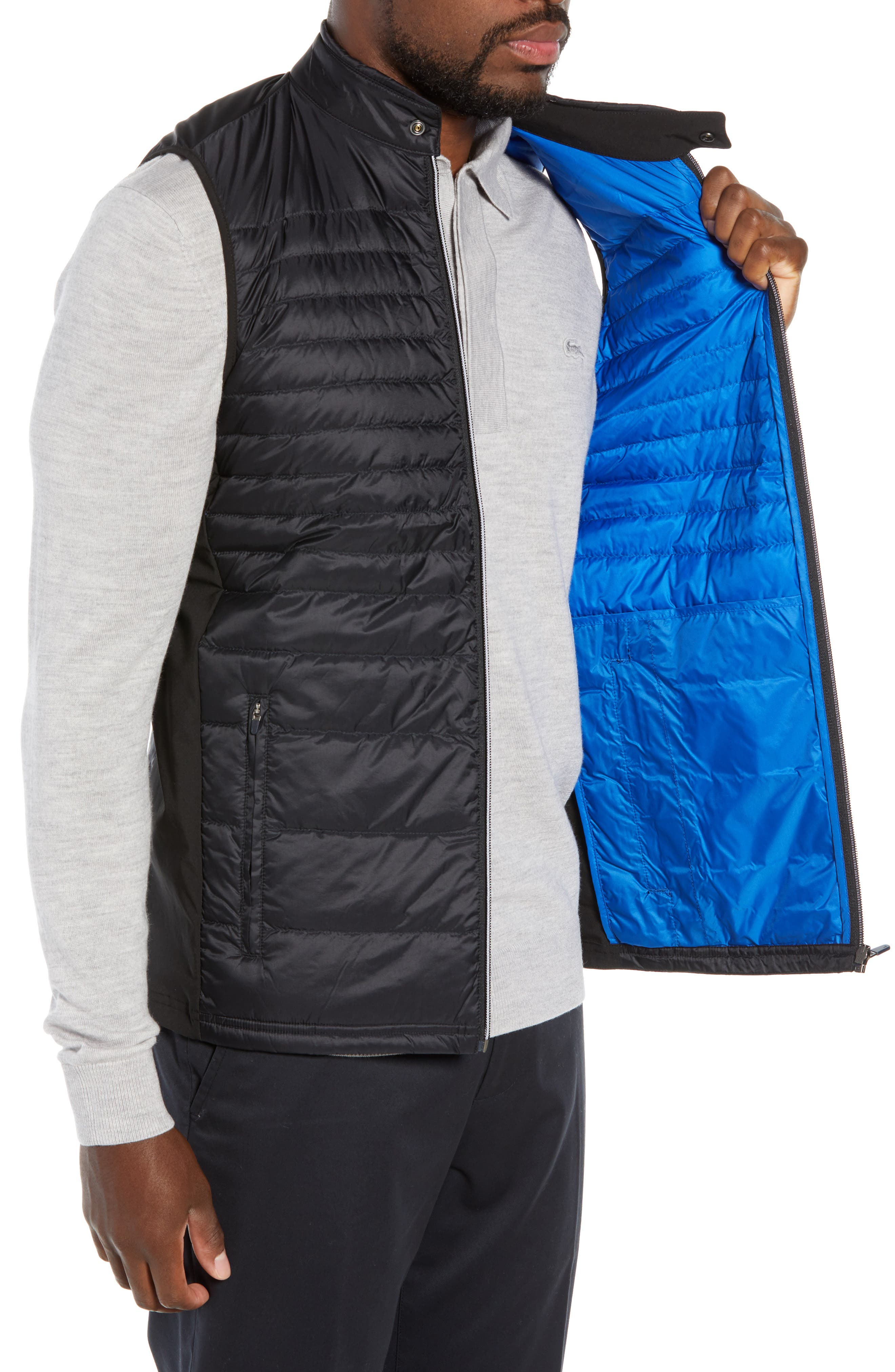 Sport Water Resistant Quilted Down Golf Vest,                             Alternate thumbnail 3, color,                             010