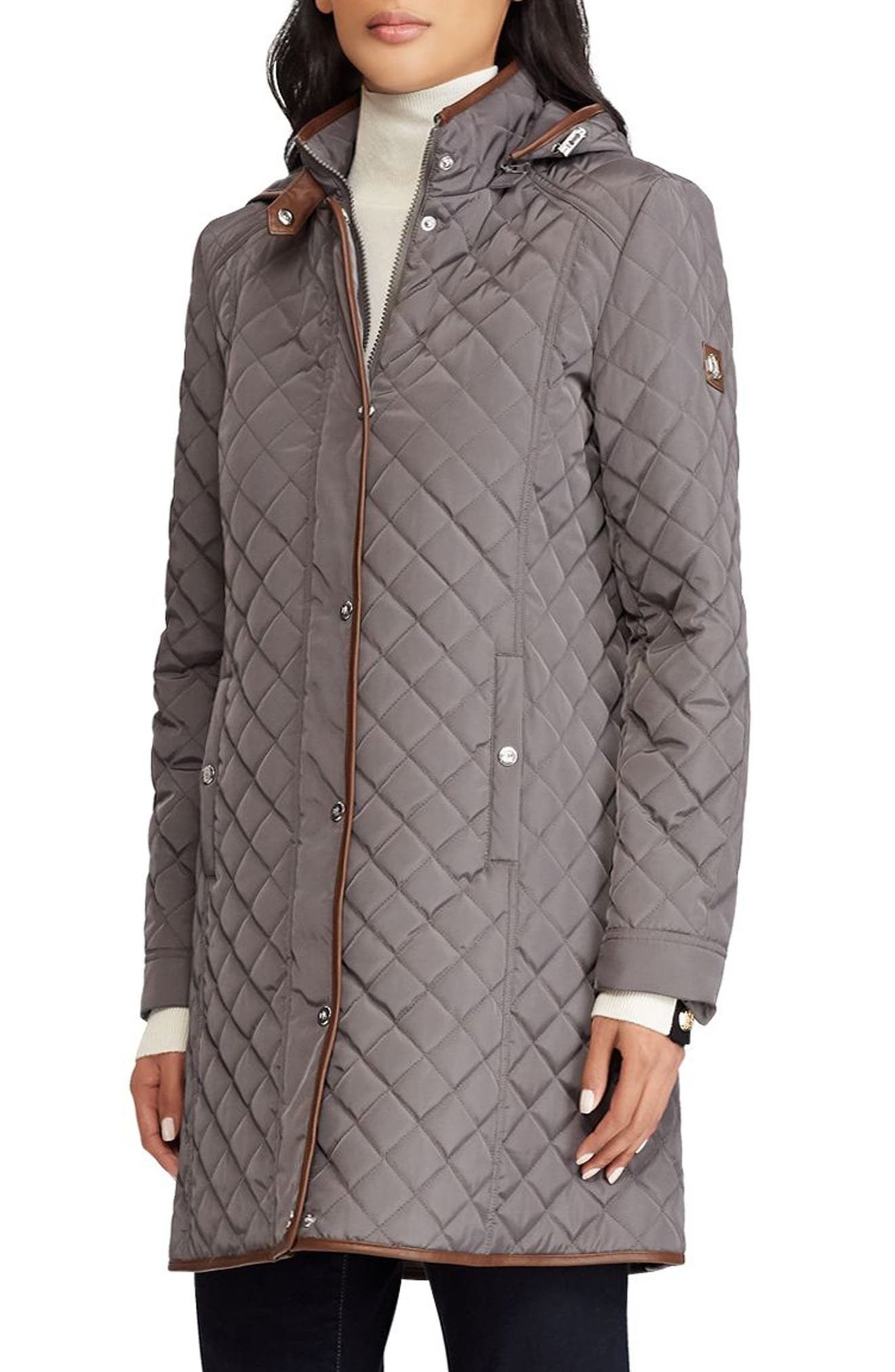 Quilted Hooded Coat,                             Main thumbnail 1, color,                             FLANNEL