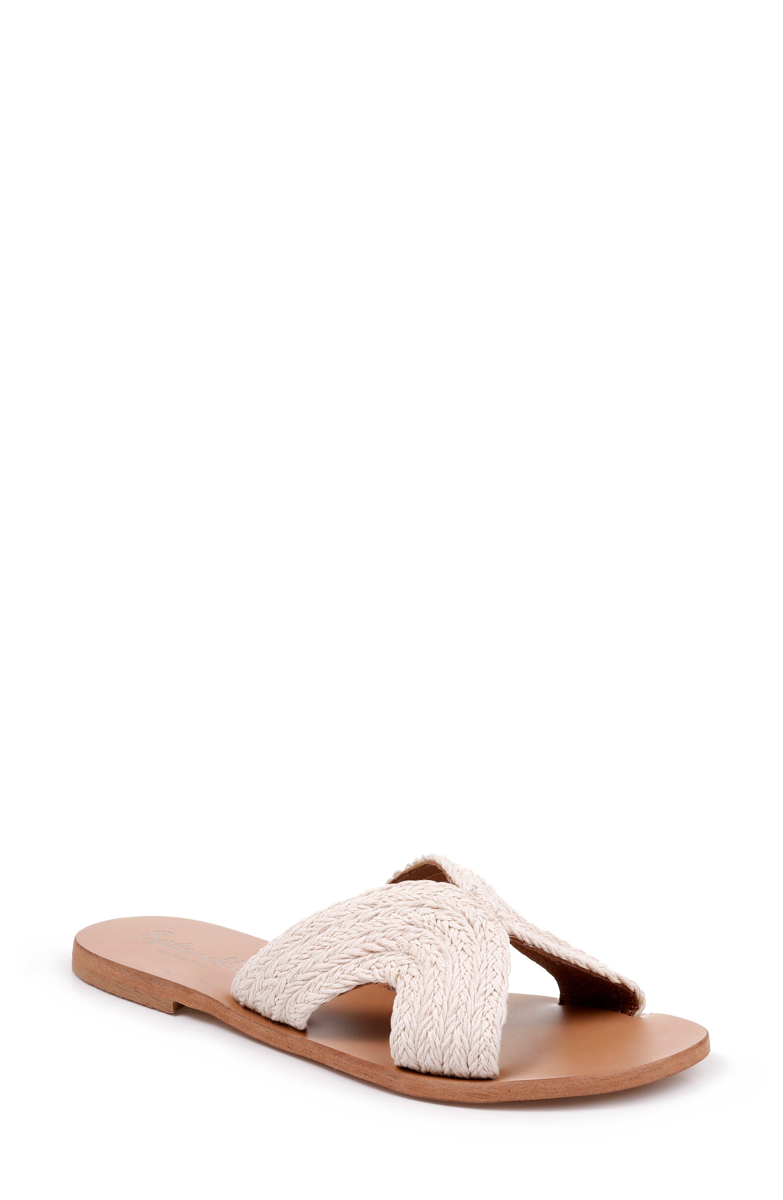Sydney Woven Slide Sandal, Main, color, CREAM FABRIC