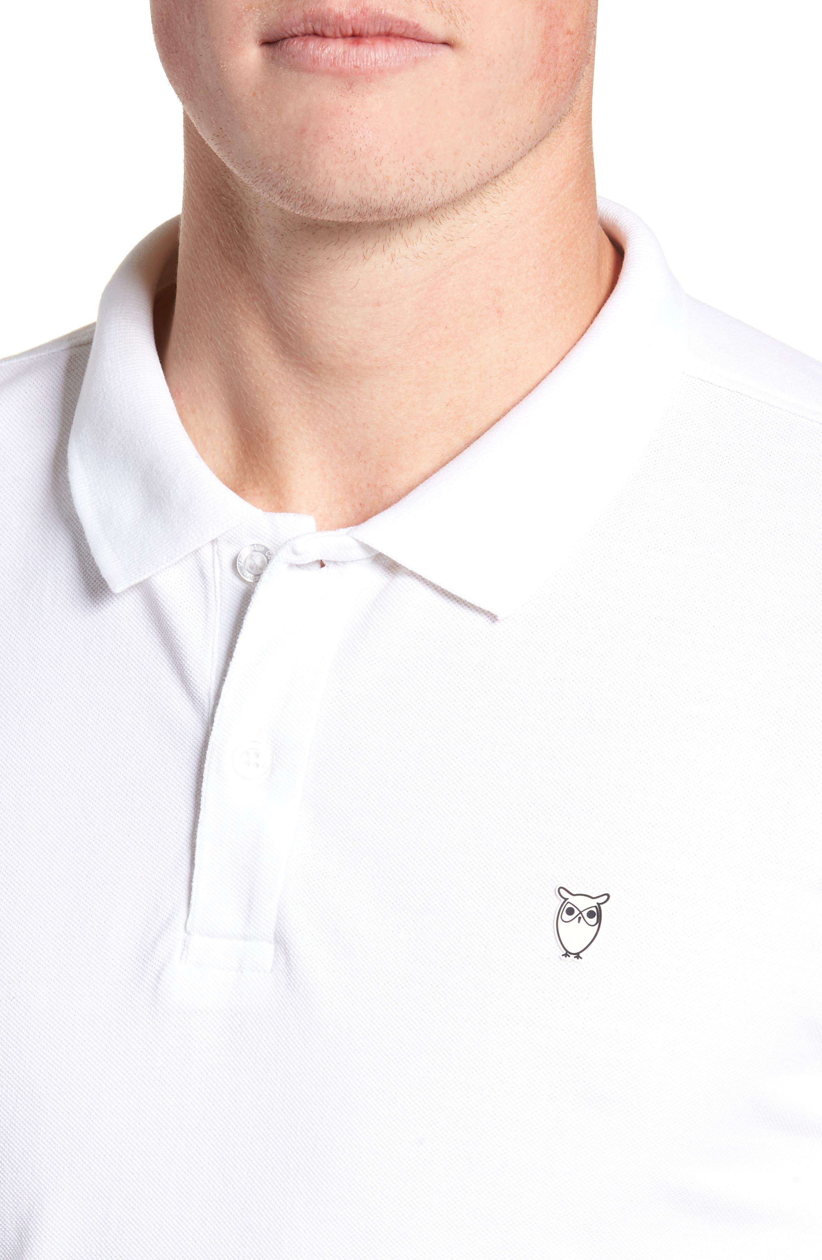 Knowledge Cotton Apparel Trim Fit Piqué Polo,                             Alternate thumbnail 4, color,                             WHITE