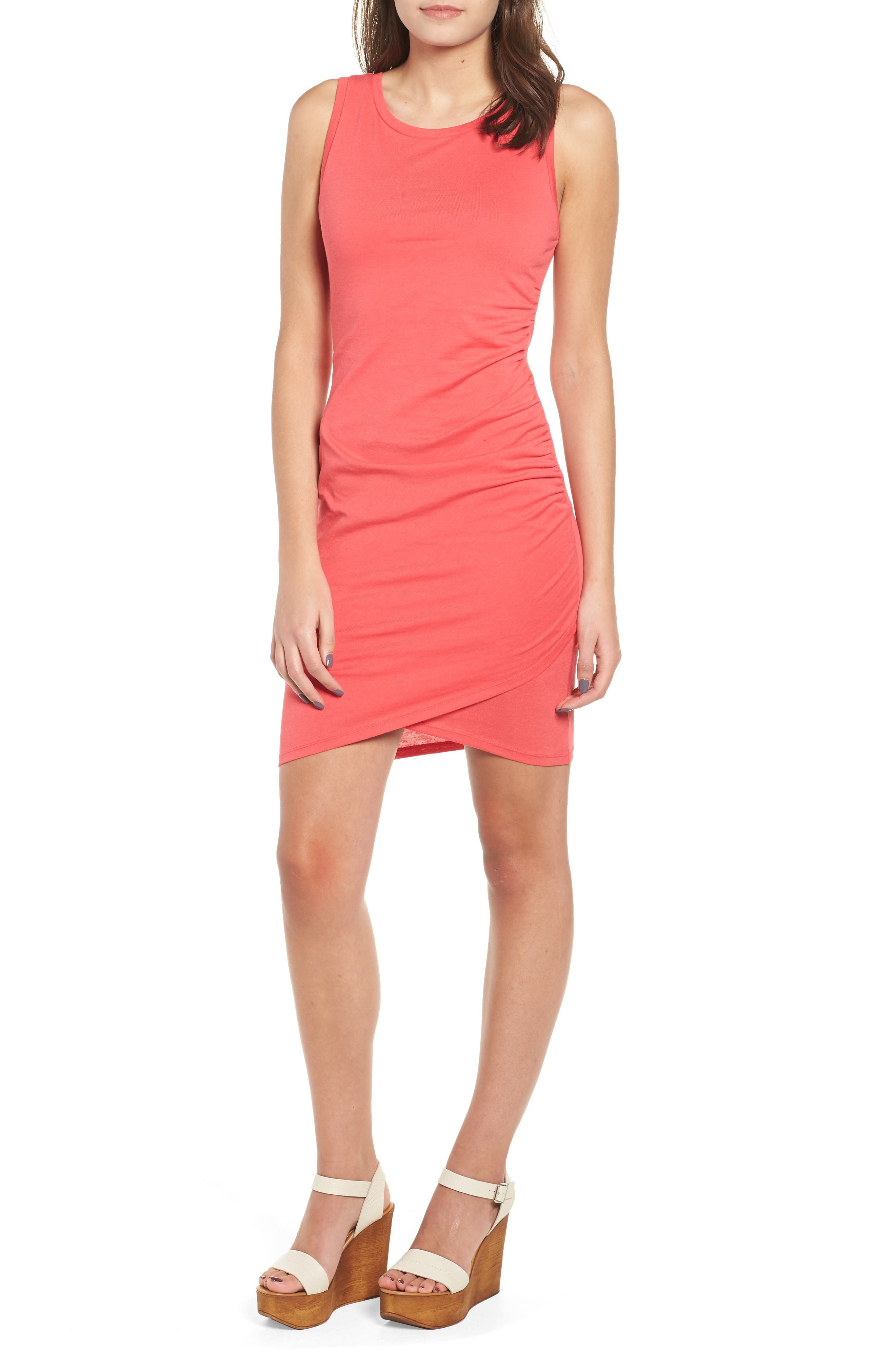 Leith Ruched Body-Con Tank Dress, Pink