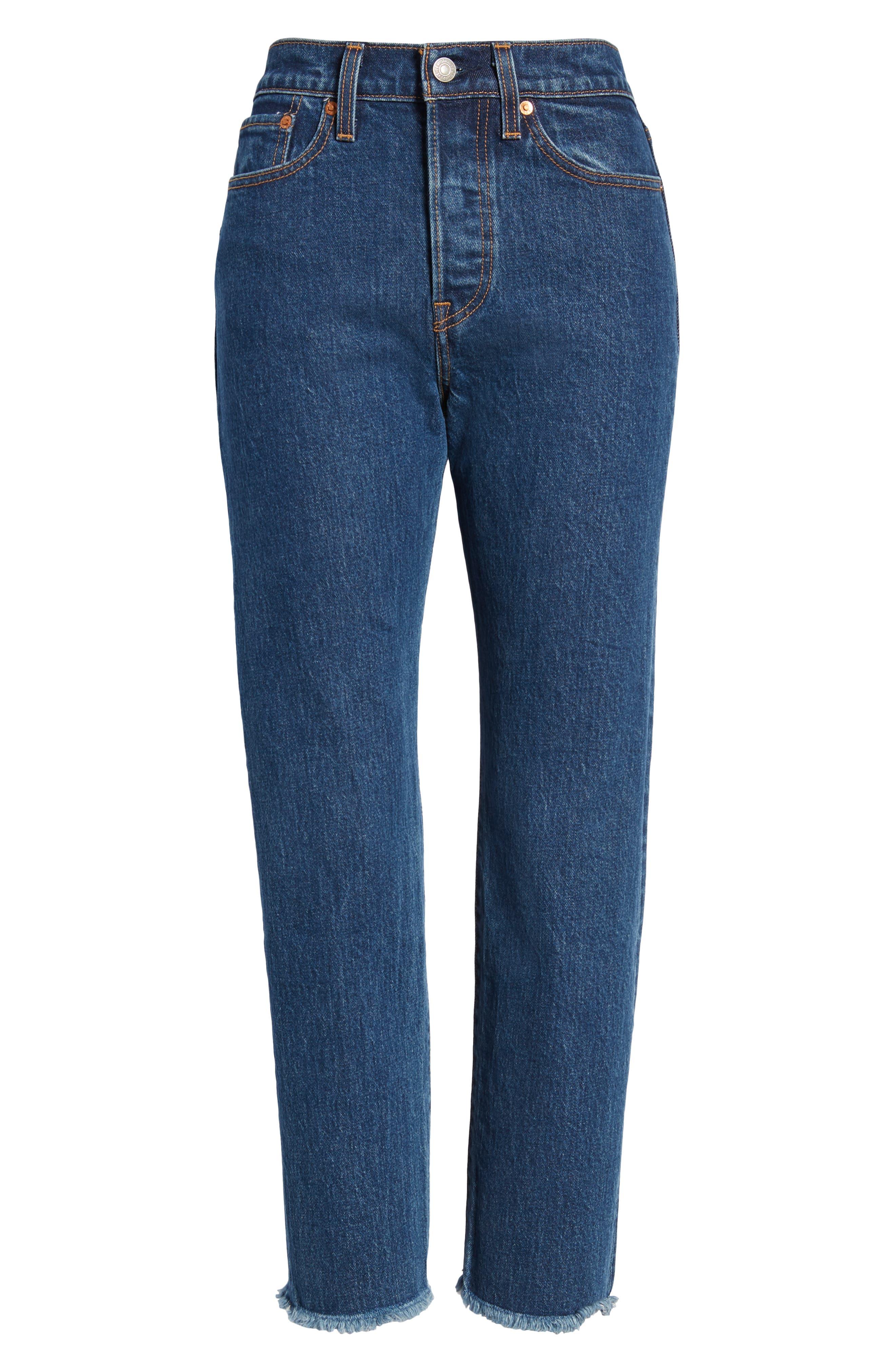 Wedgie High Waist Ankle Straight Leg Jeans,                             Alternate thumbnail 7, color,                             BELOW THE BELT