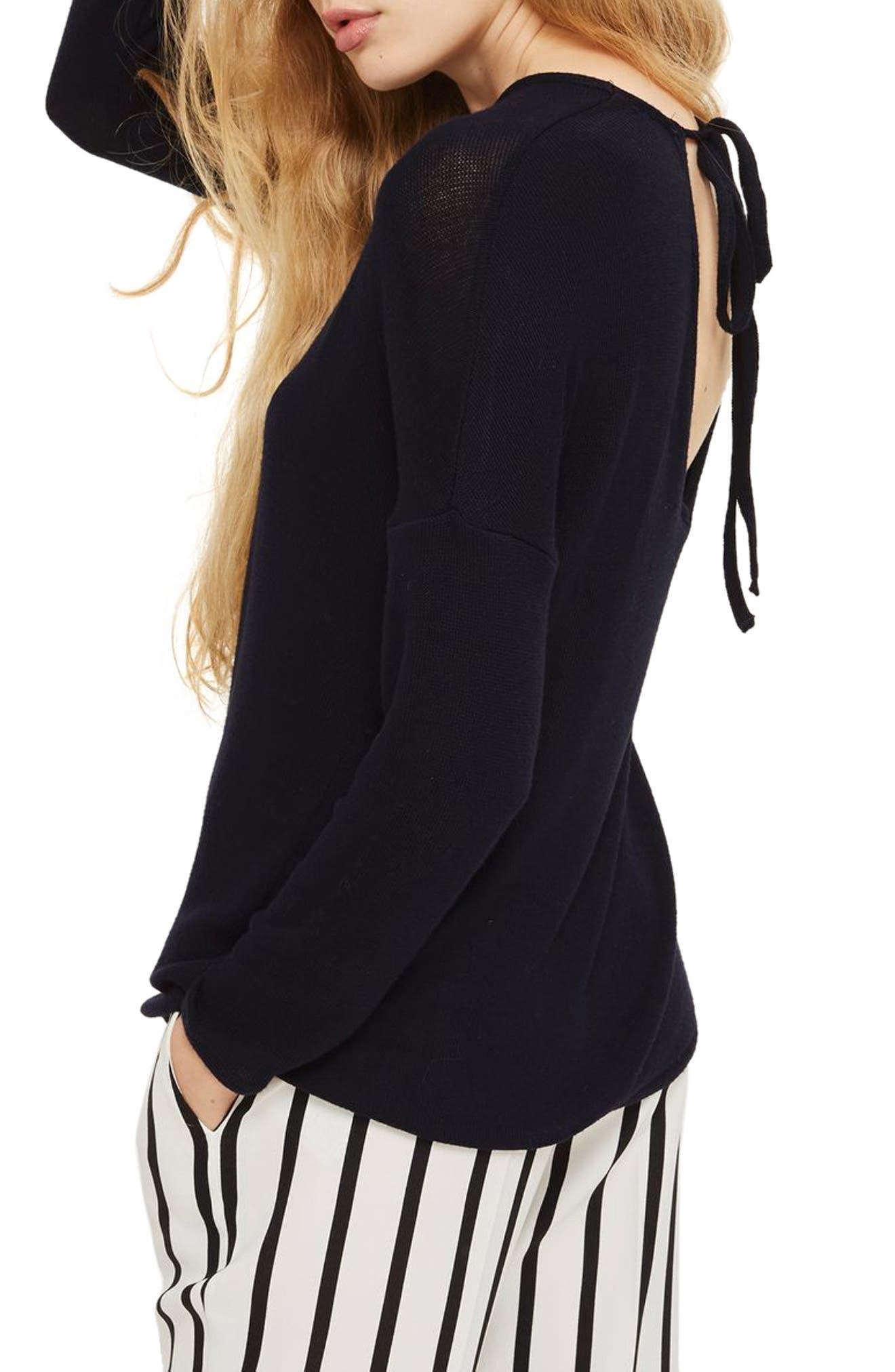 Drop Shoulder Tie Back Sweater,                             Alternate thumbnail 9, color,