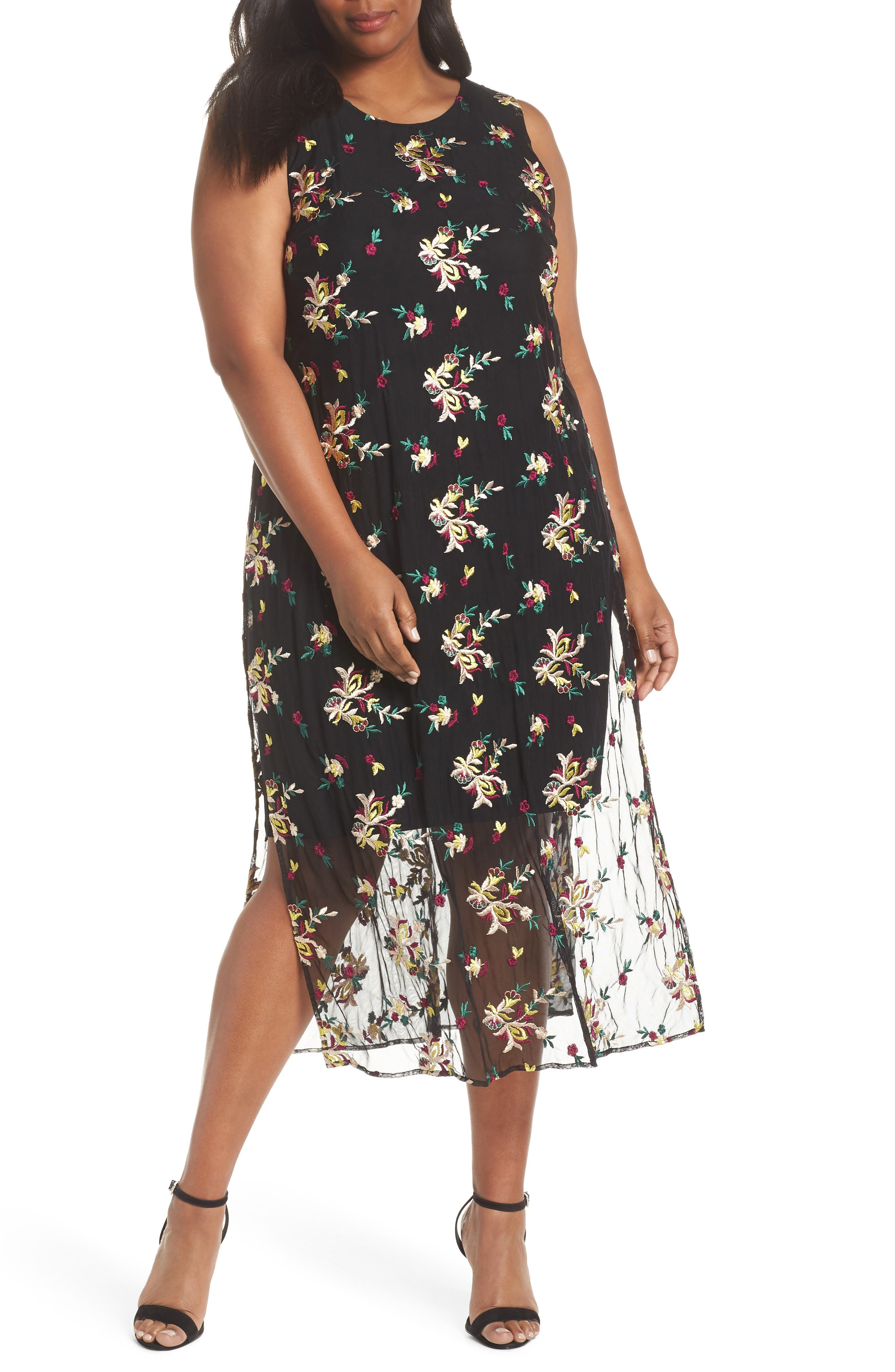 Tropical Embroidered Mesh Overlay Dress,                             Main thumbnail 1, color,                             RICH BLACK