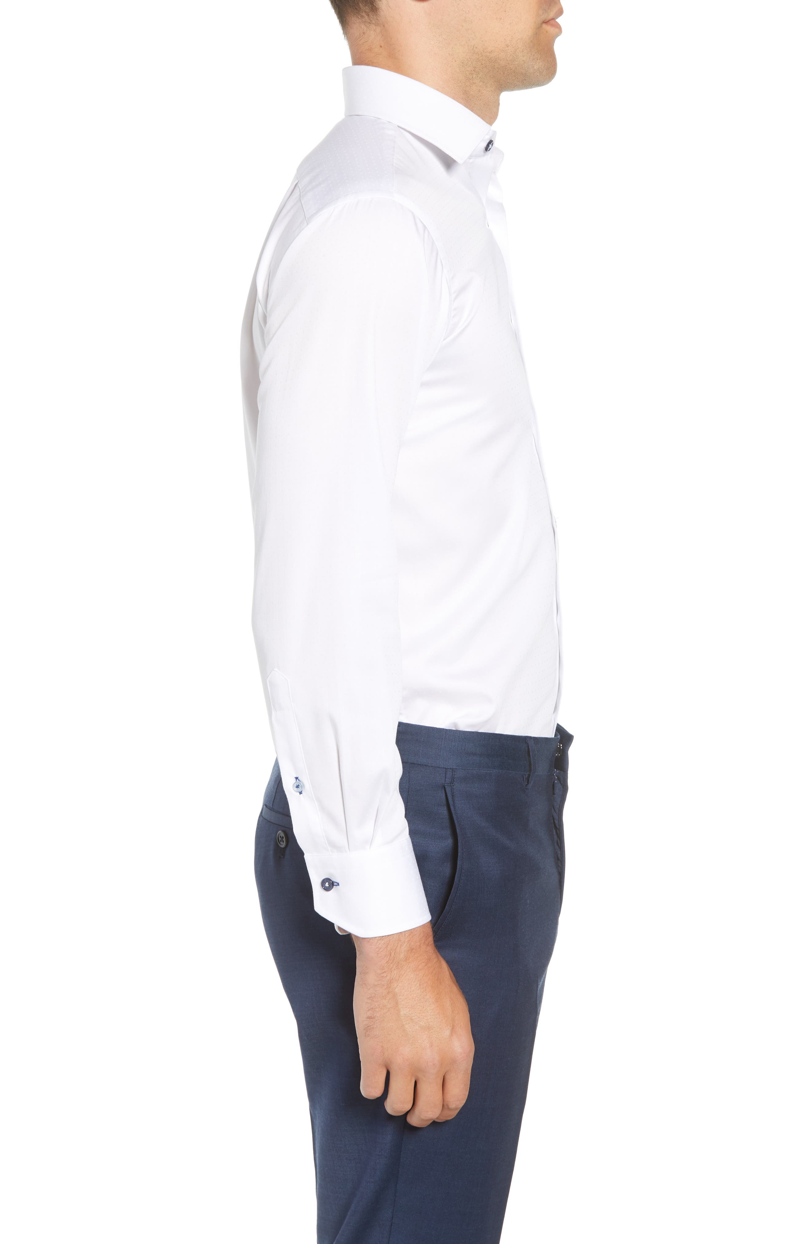 Trim Fit Dot Dress Shirt,                             Alternate thumbnail 4, color,                             WHITE