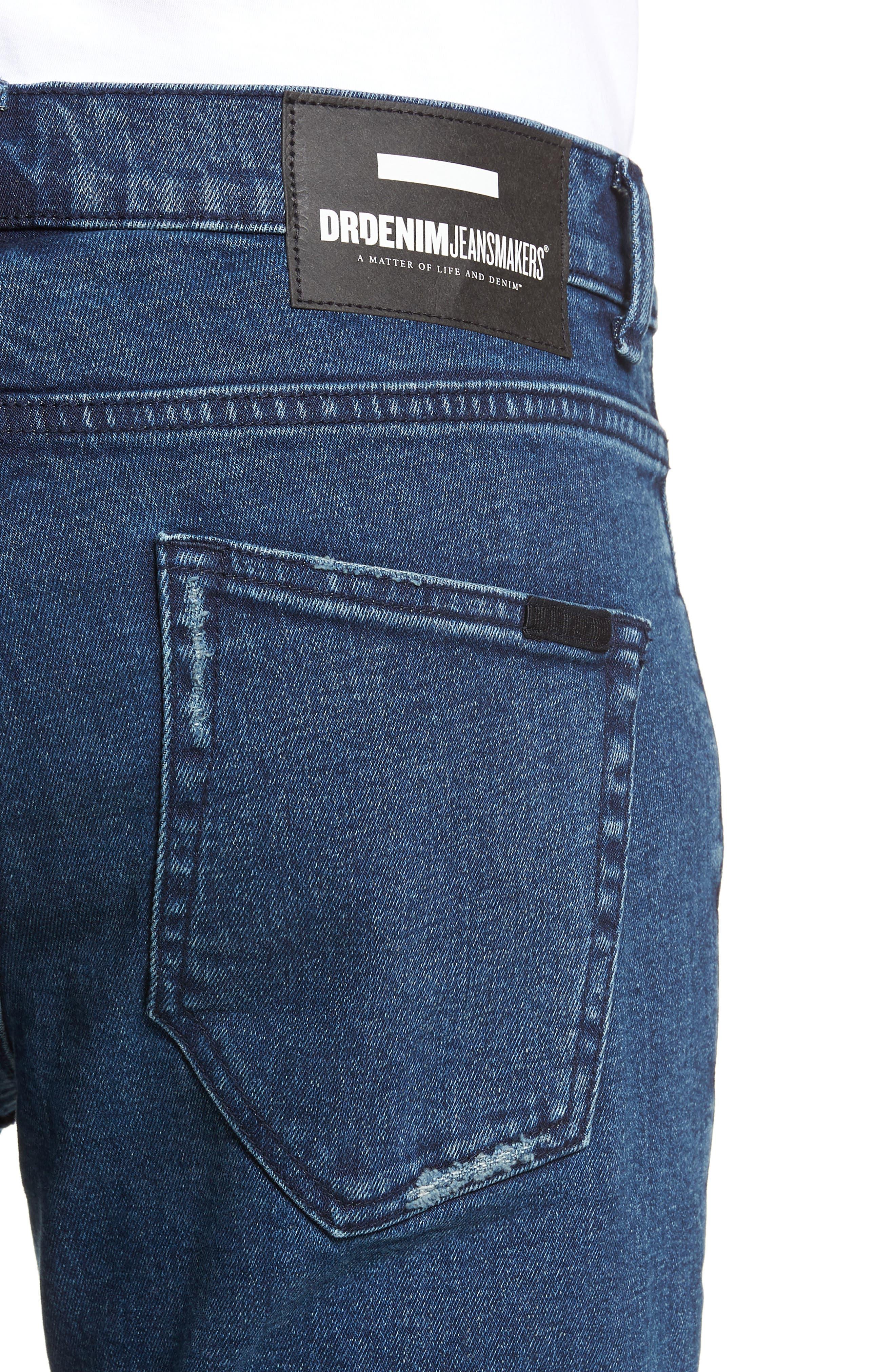 Clark Slim Straight Leg Jeans,                             Alternate thumbnail 4, color,                             WORN ASH BLUE DAMAGED
