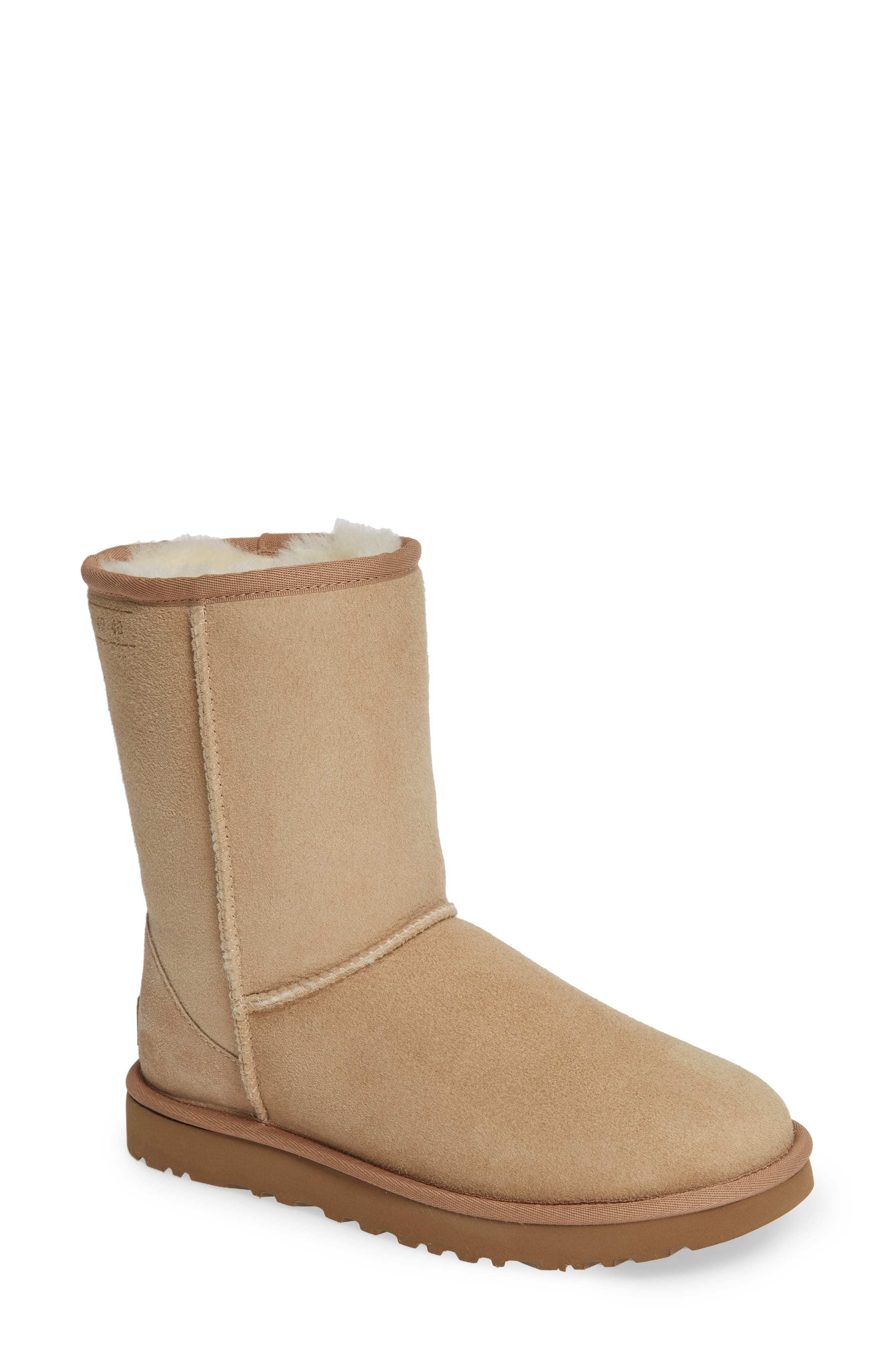 Classic Short 40:40:40 Genuine Shearling Boot,                             Main thumbnail 1, color,                             SAND SUEDE