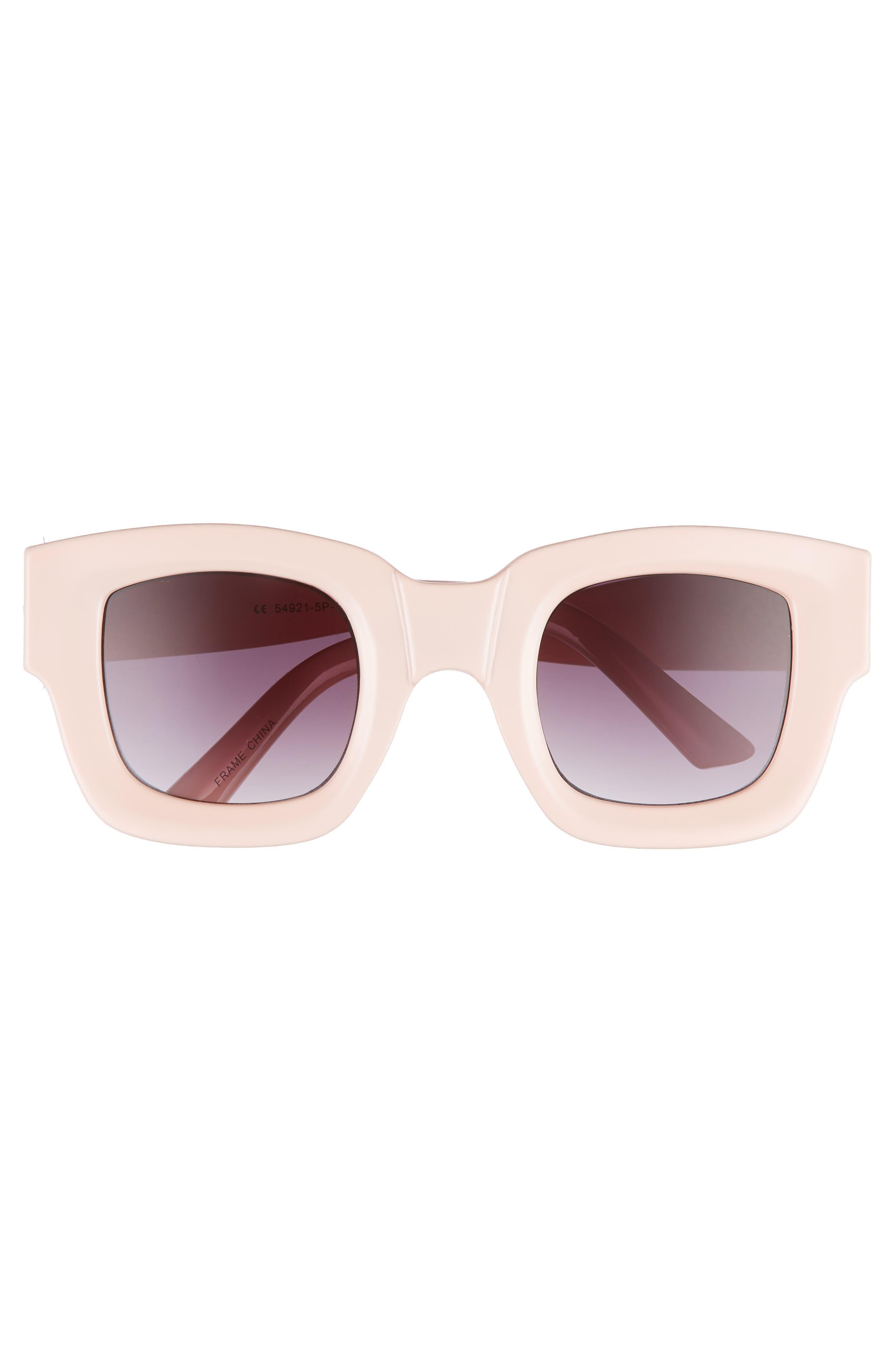 45mm Square Sunglasses,                             Alternate thumbnail 3, color,                             PALE PINK