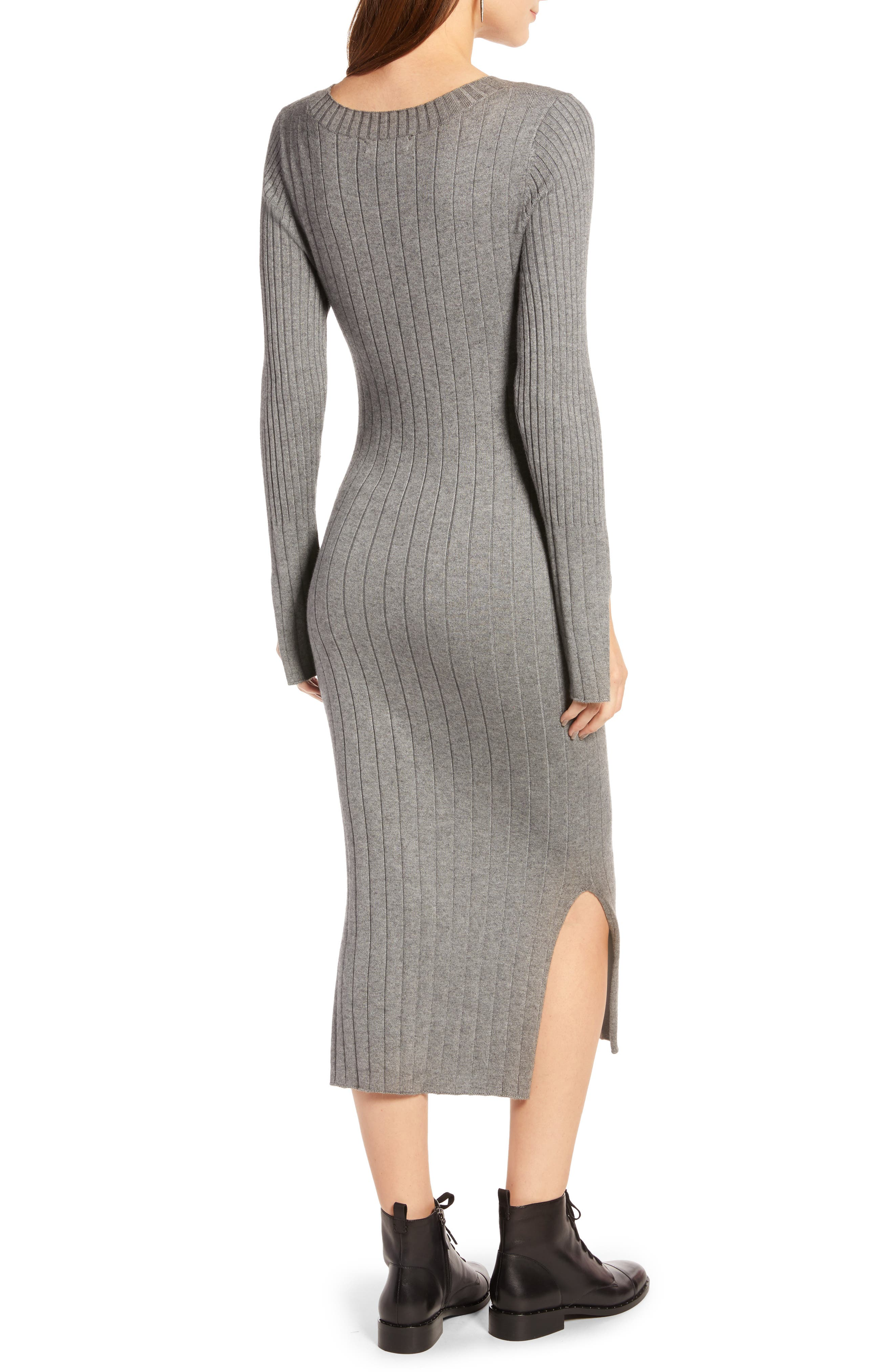 Ribbed Sweater Dress,                             Alternate thumbnail 2, color,                             GREY DARK HEATHER