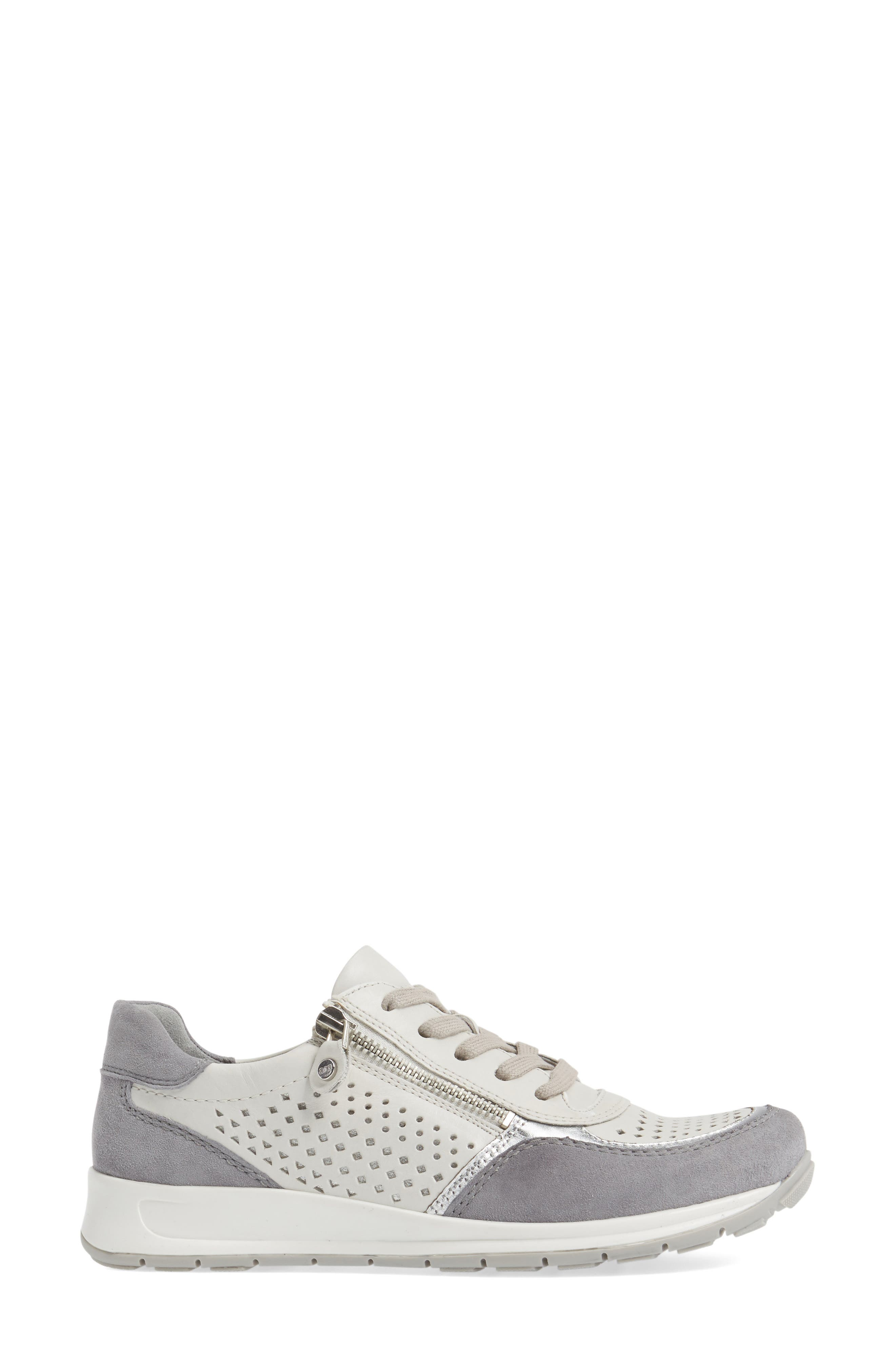 Olivia Perforated Sneaker,                             Alternate thumbnail 3, color,                             SILVER SUEDE